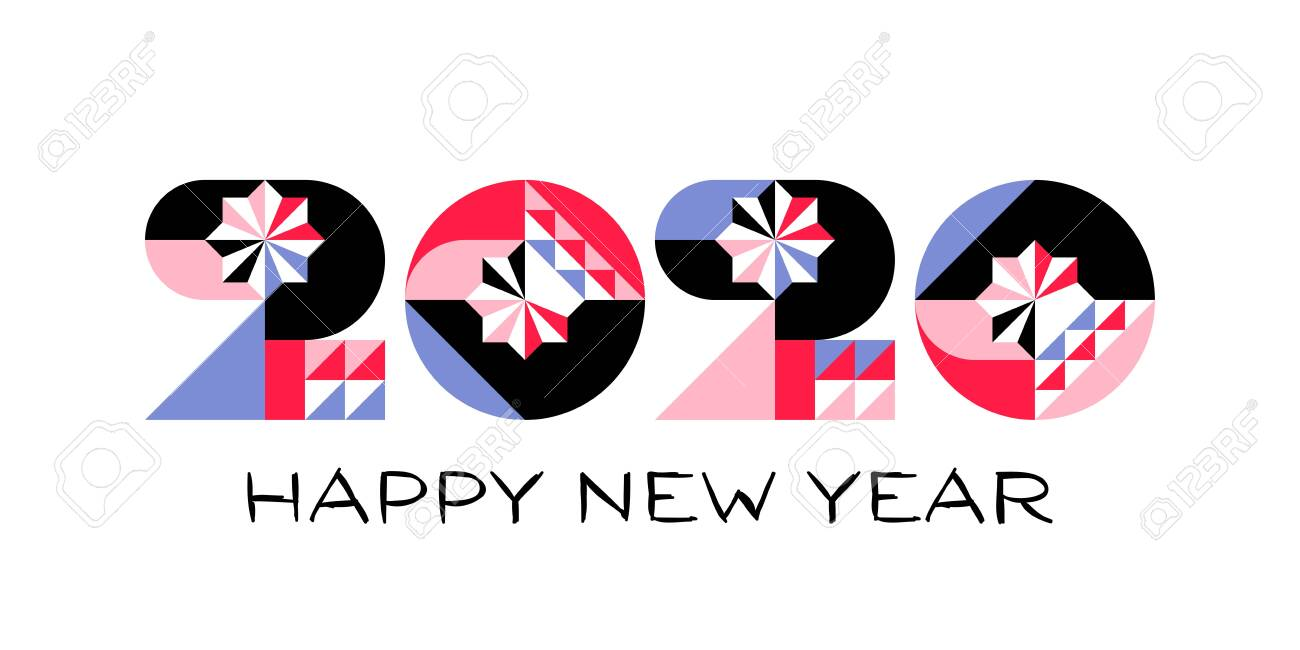 Happy New Year 2020 logo with multicolored geometric numbers with abstract design elements on white background. Modern vector illustration for printed matter or web design - 130015015