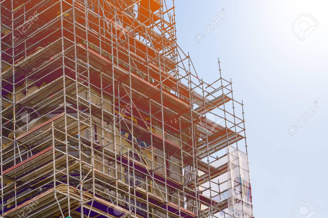 Construction Metal Scaffolding Lizenzfreie Fotos Bilder Und Stock