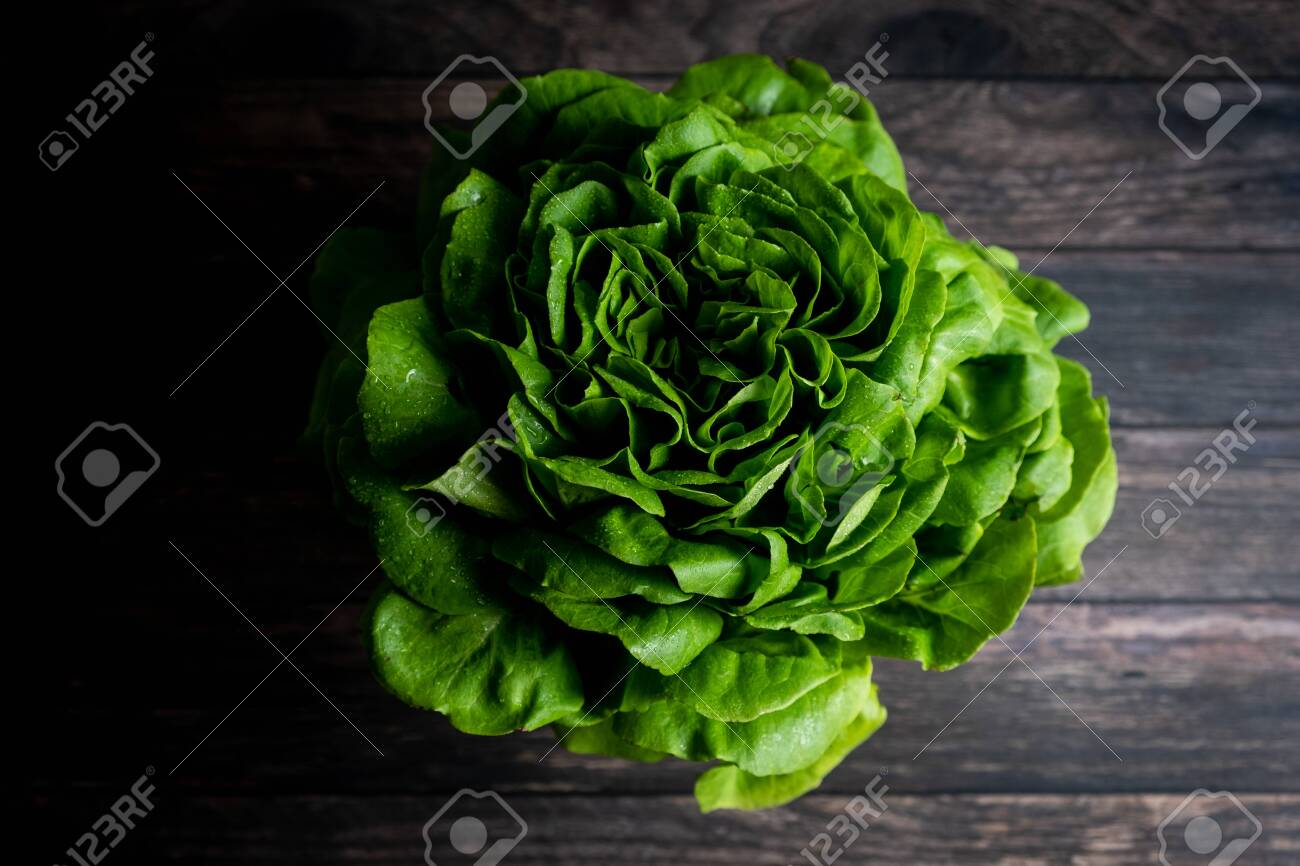 Top view of detail of trocadero lettuce on wooden background - 147914743