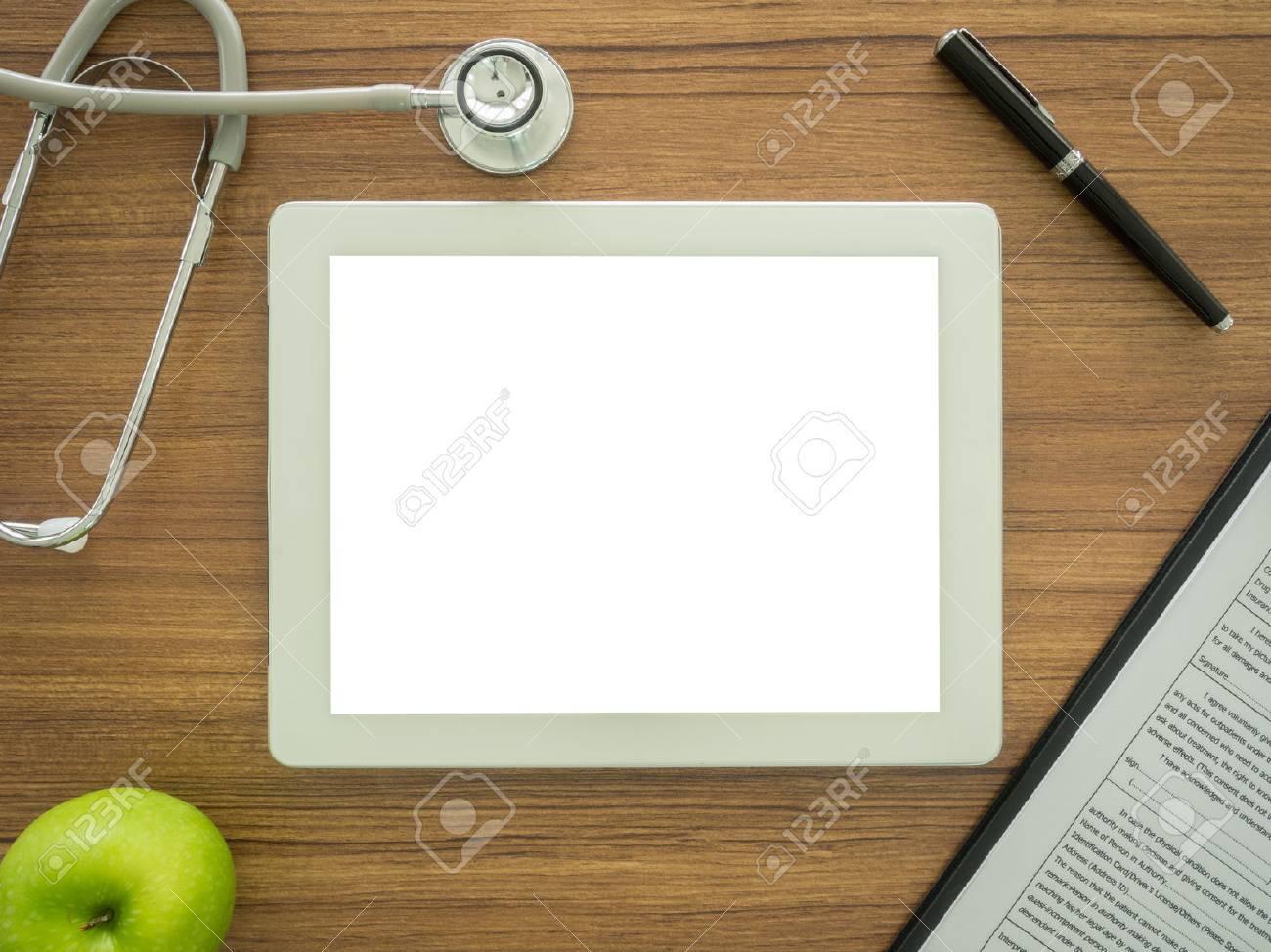 Espace libre pour le texte dans la tablette sur le médecin de