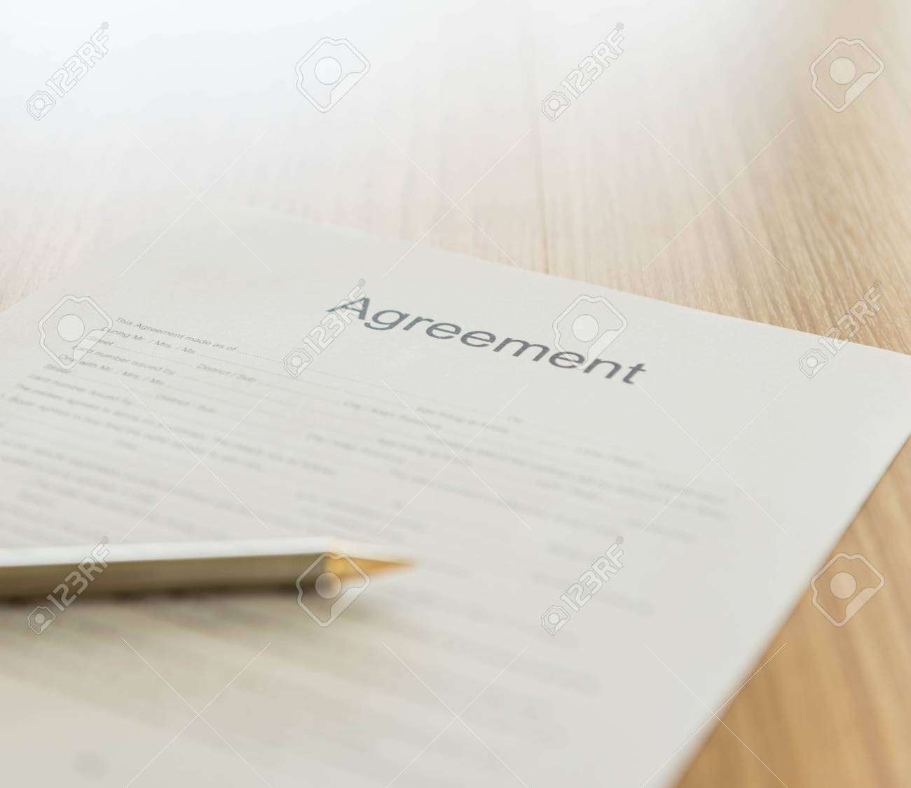 Closeup The Words Agreement On Formal Paper. Agreement Concept Stock ...