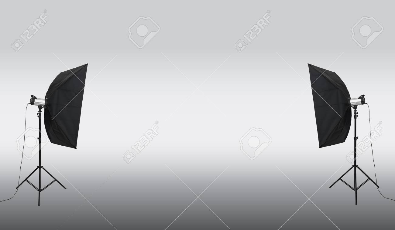 Immagini stock studio fotografico vuoto con apparecchi di