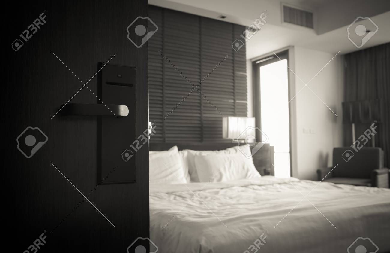Open The Door Of The Luxury Modern Hotel Room Black And White