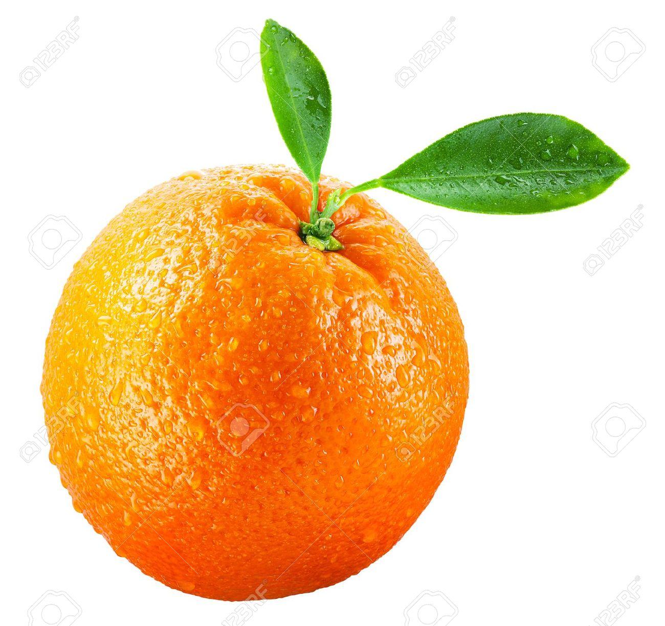 Wet orange fruit with leaves isolated on white - 12521354
