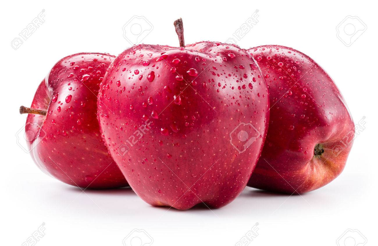 Three fresh red apples with drops isolated on white - 50416913