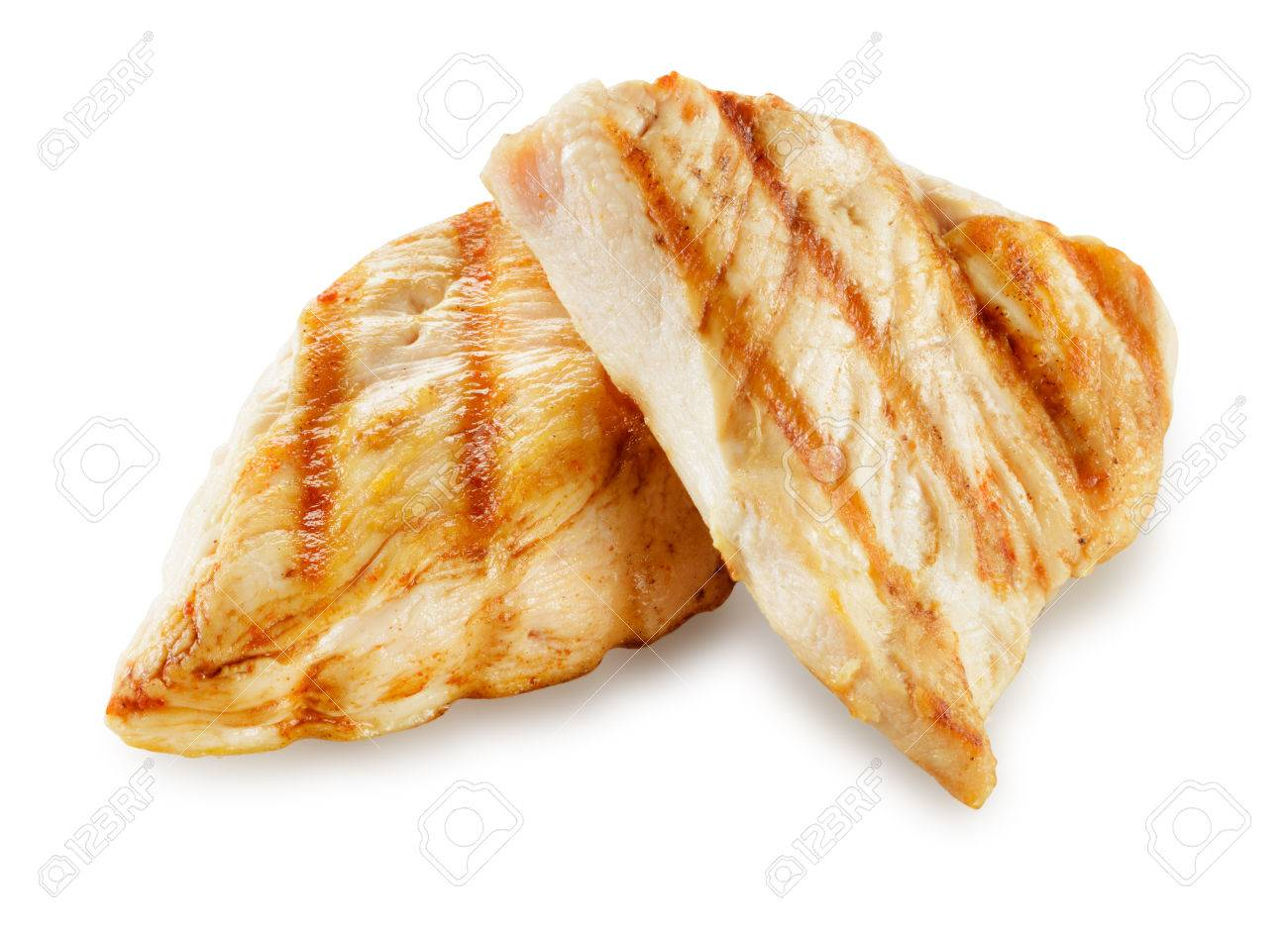 Prepared chicken meat. Breast fillet slices isolated. With clipping path. - 53405201