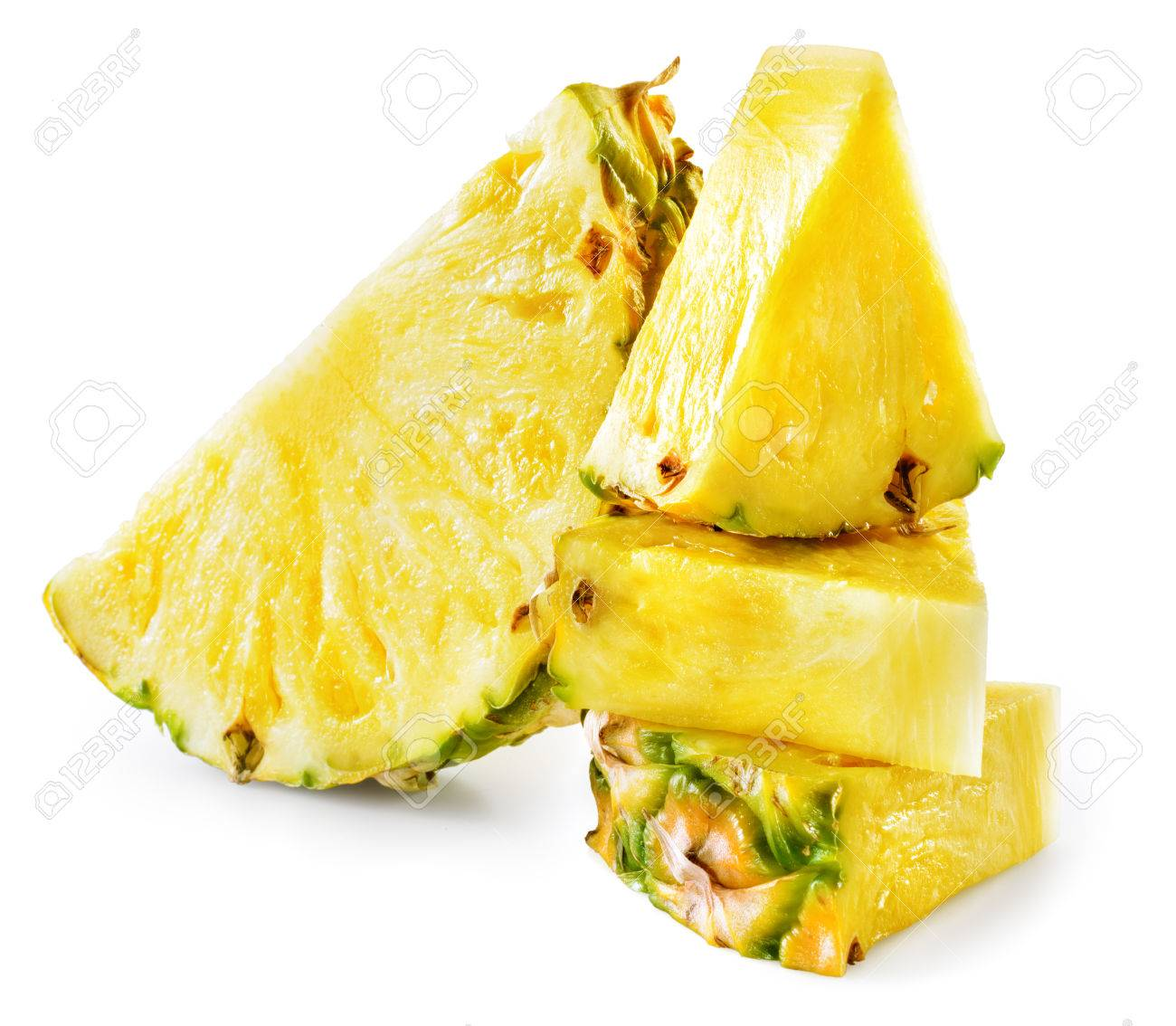 Pineapple slices isolated on white background. - 54475252