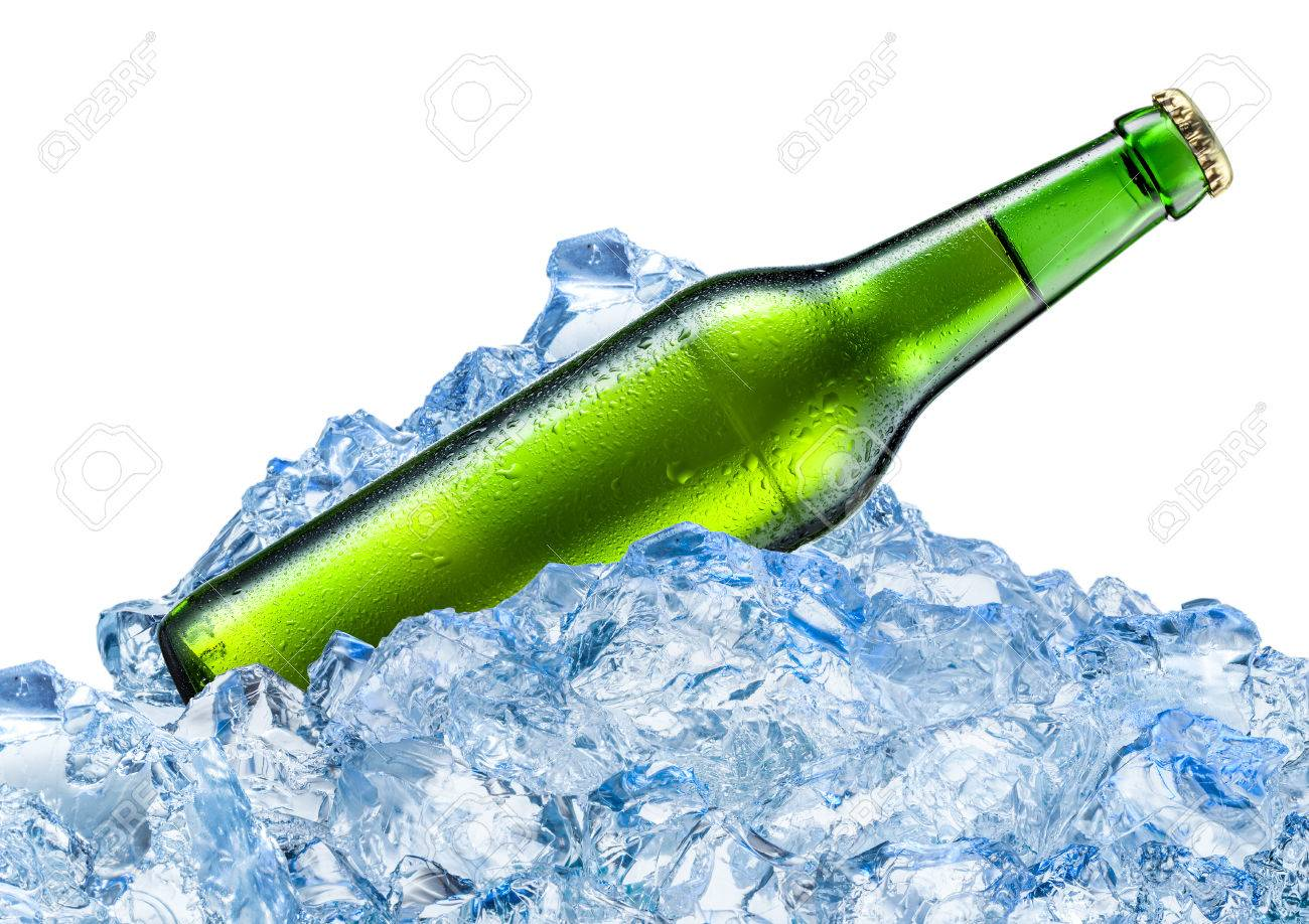 Bottle of beer with drops in ice cubes. Isolated on white. - 54475518
