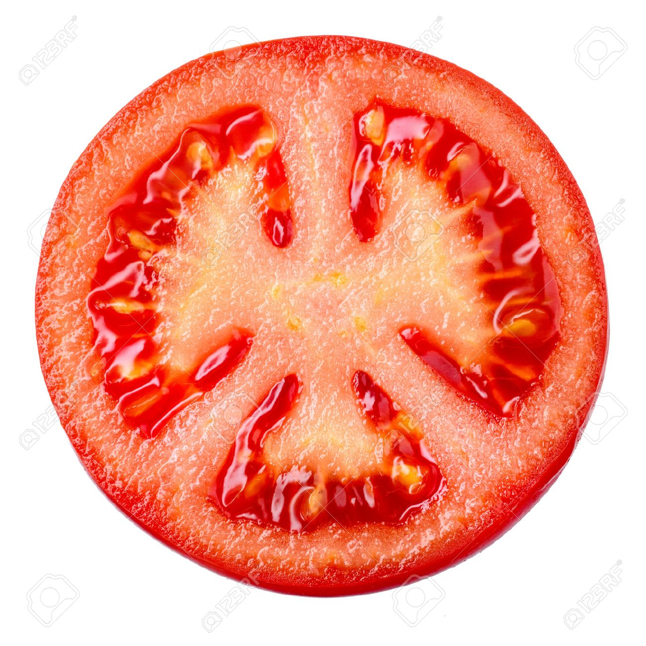 tomato slice isolated on white background top view stock photo