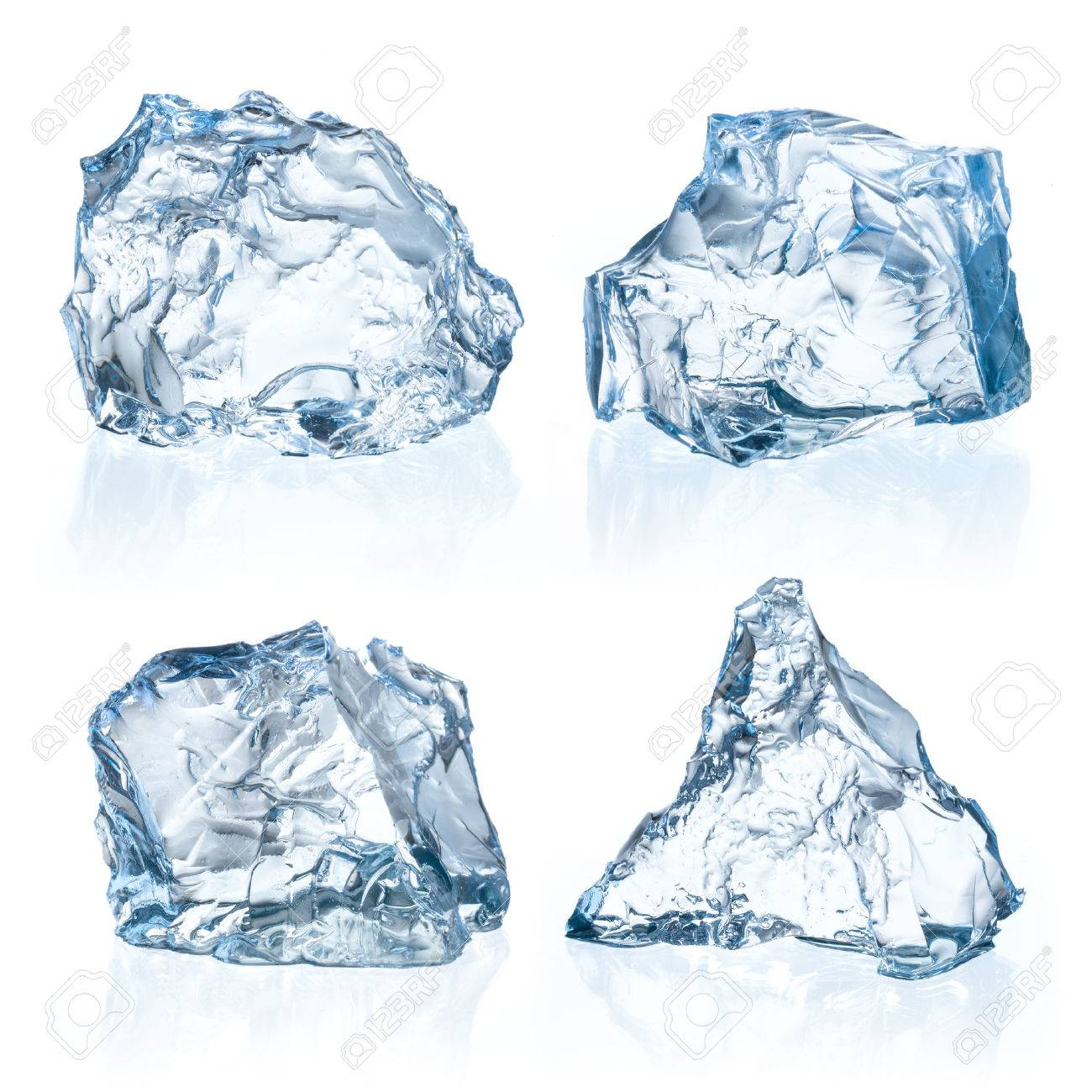 Pieces of ice on a white background. - 54475611