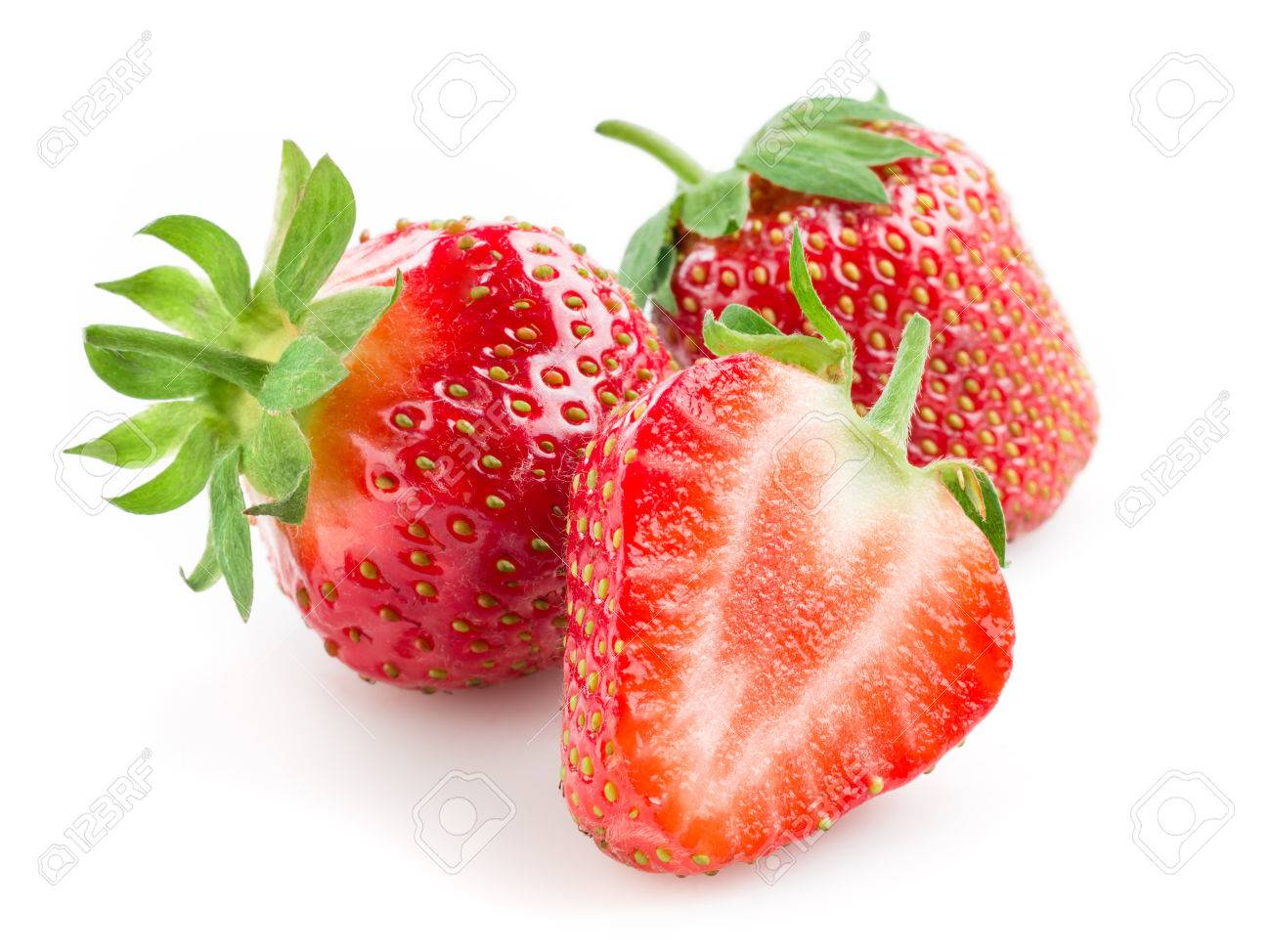 Strawberry. Berries with a half isolated on white - 54837690