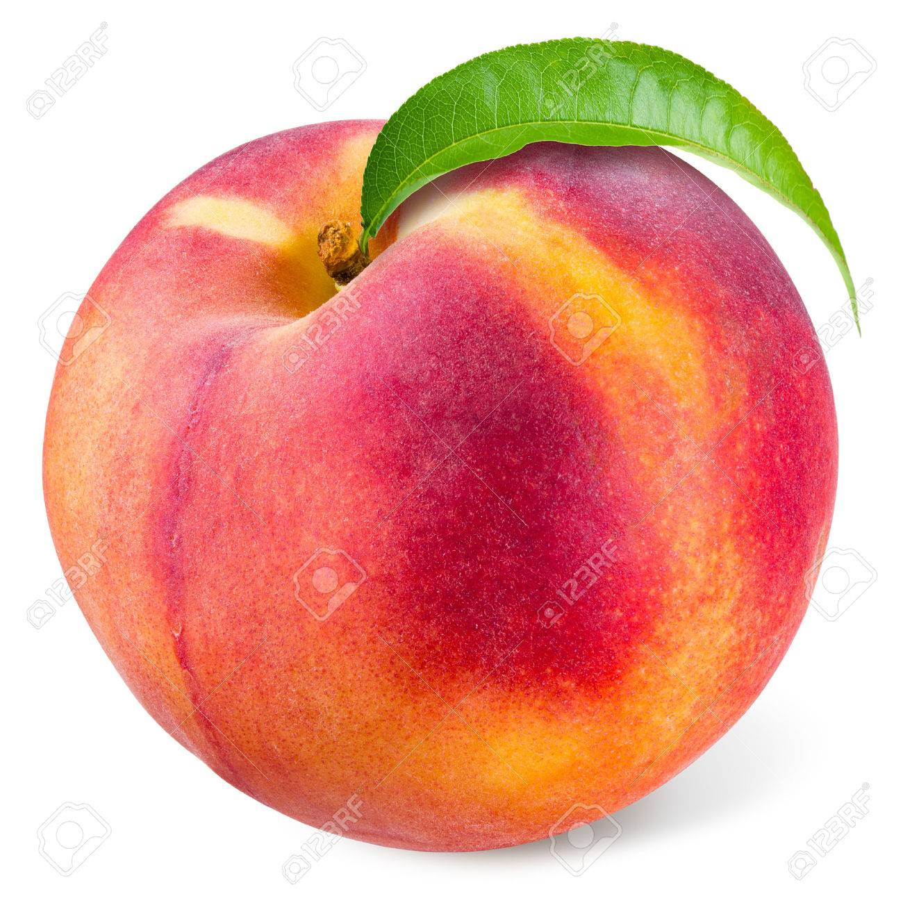 Peach with leaf isolated on white - 54837747