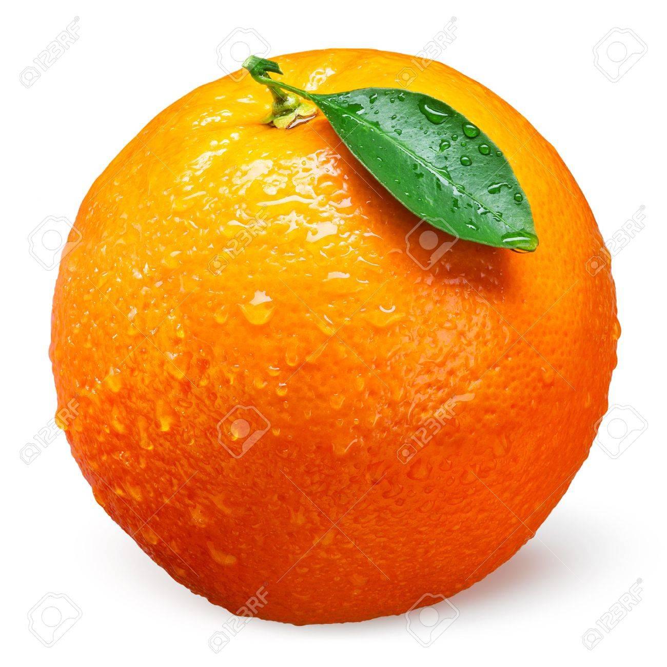 Fresh orange fruit with drops isolated on white - 57051899