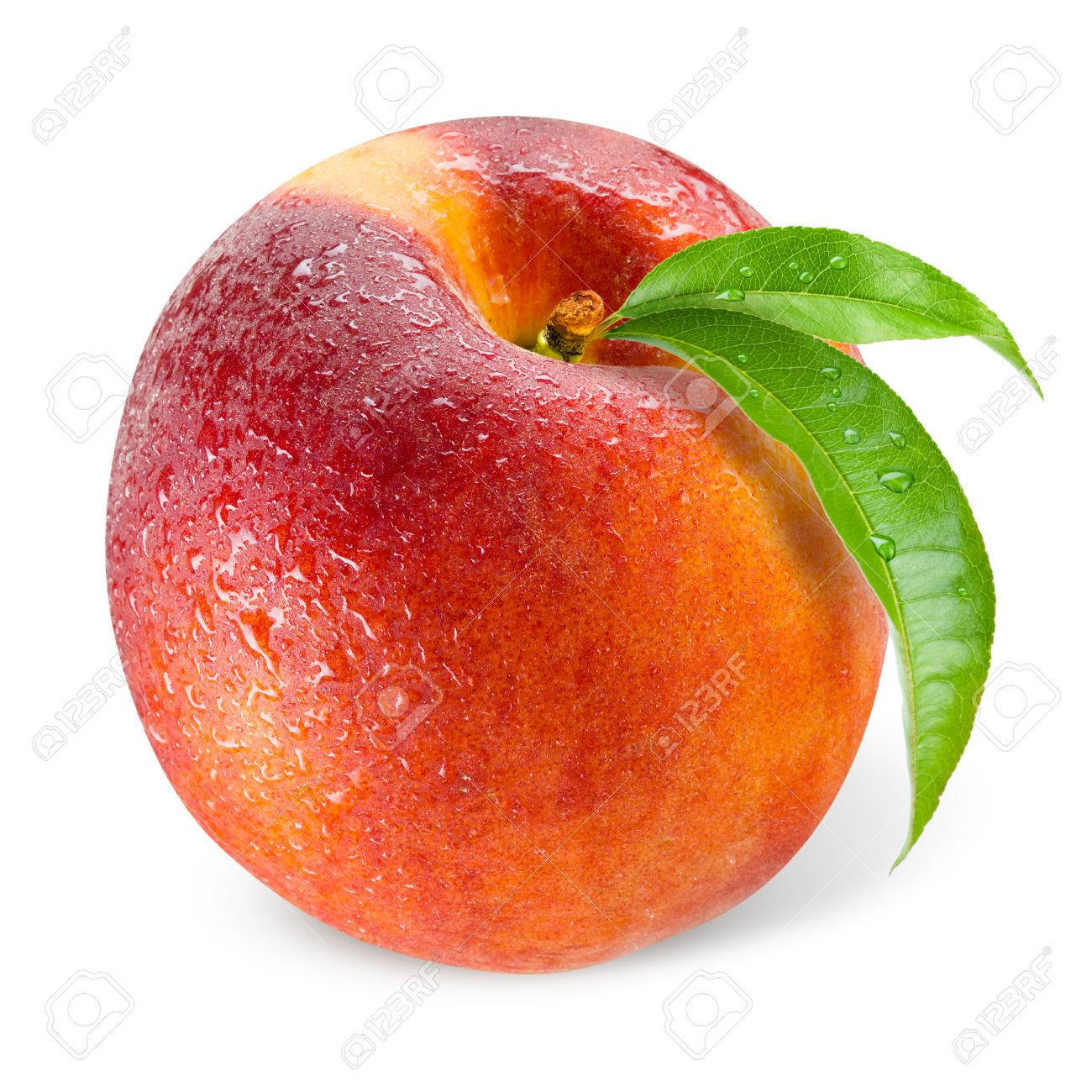 Peach. Wet fruit with leaf isolated on white - 57051997