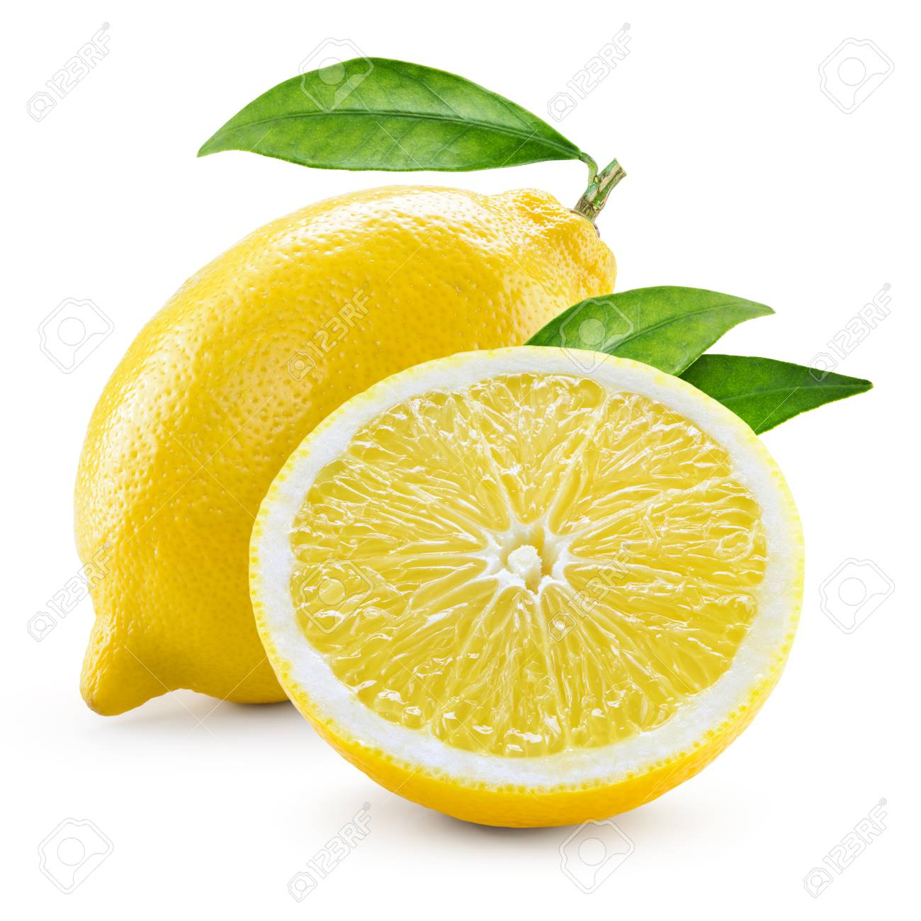 Lemon. Fruit with half and leaves isolated on white - 57052067