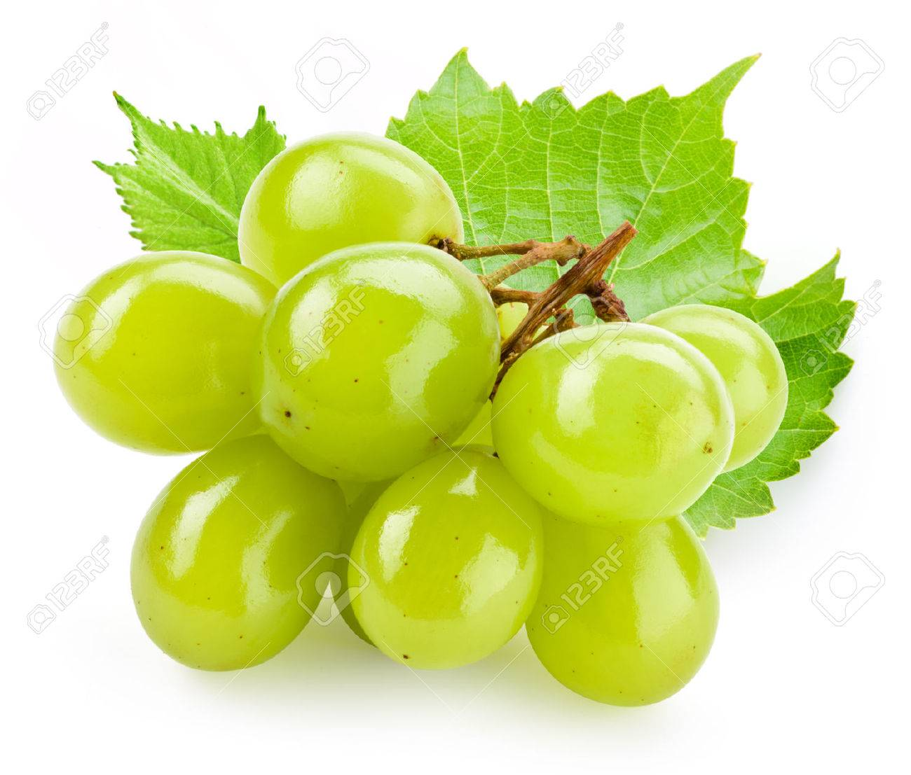 Green grape with leaf isolated on white background - 57052249
