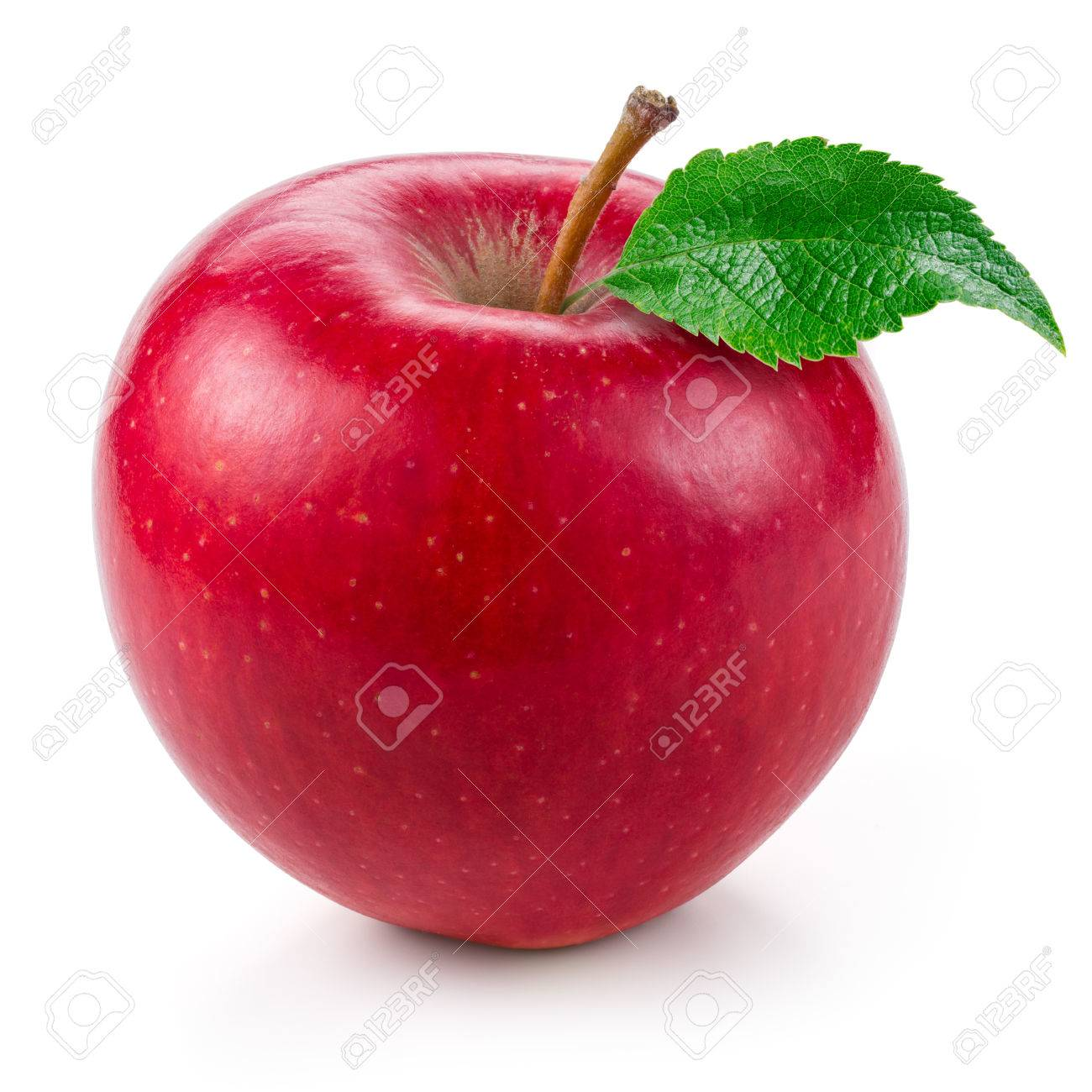 Fresh red apple with leaf isolated on white. - 59830973