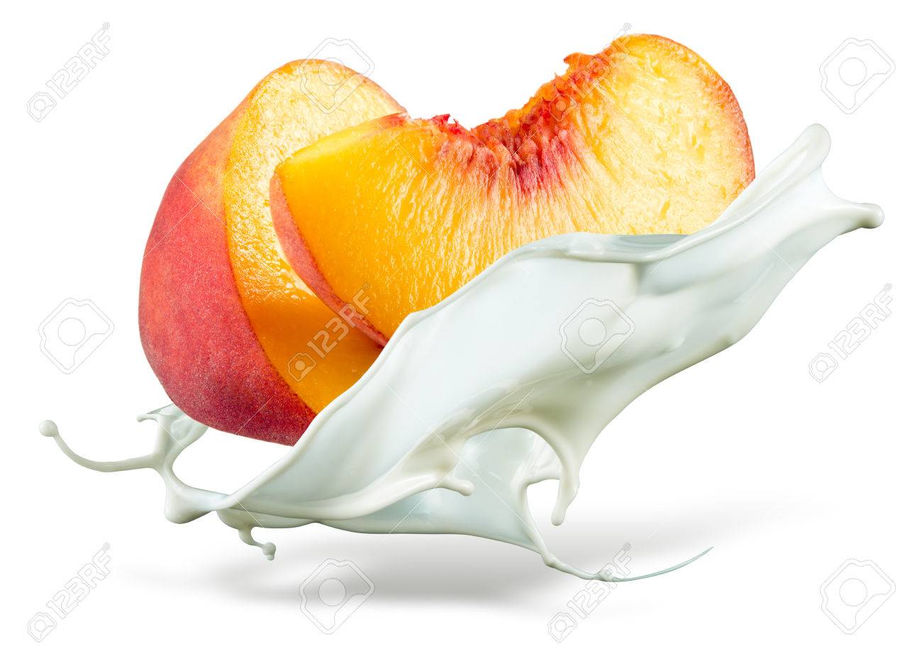 Peach is falling into milk. Splash isolated on white background - 59831203