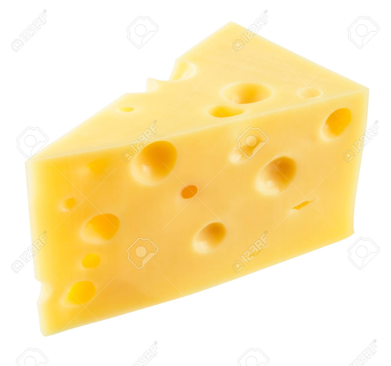 Piece of cheese isolated. With clipping path. - 70258418