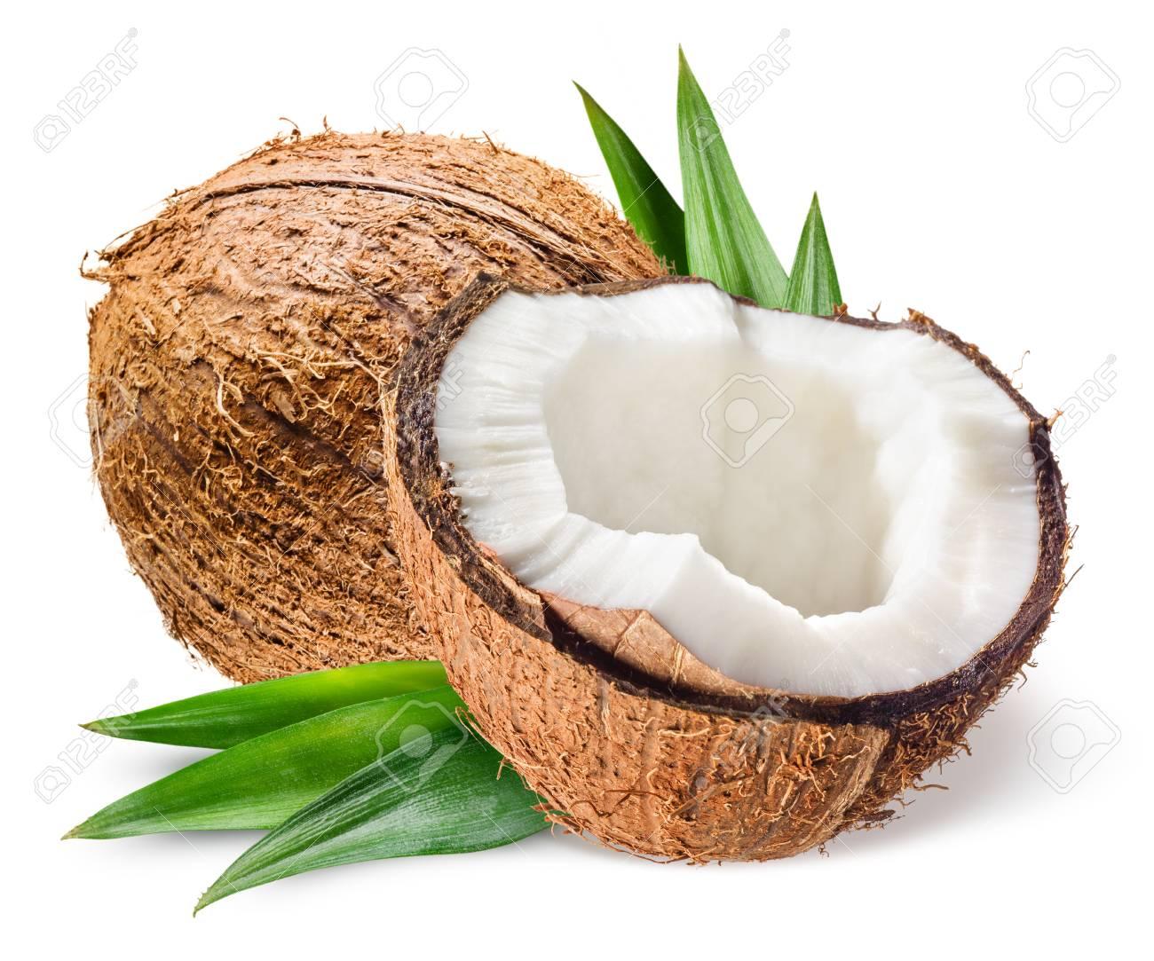 Coconut with half and leaves on white background - 86563904