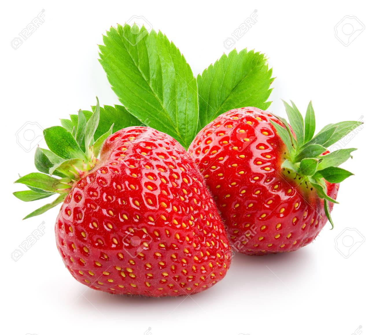Two strawberries close up on white background - 86607299