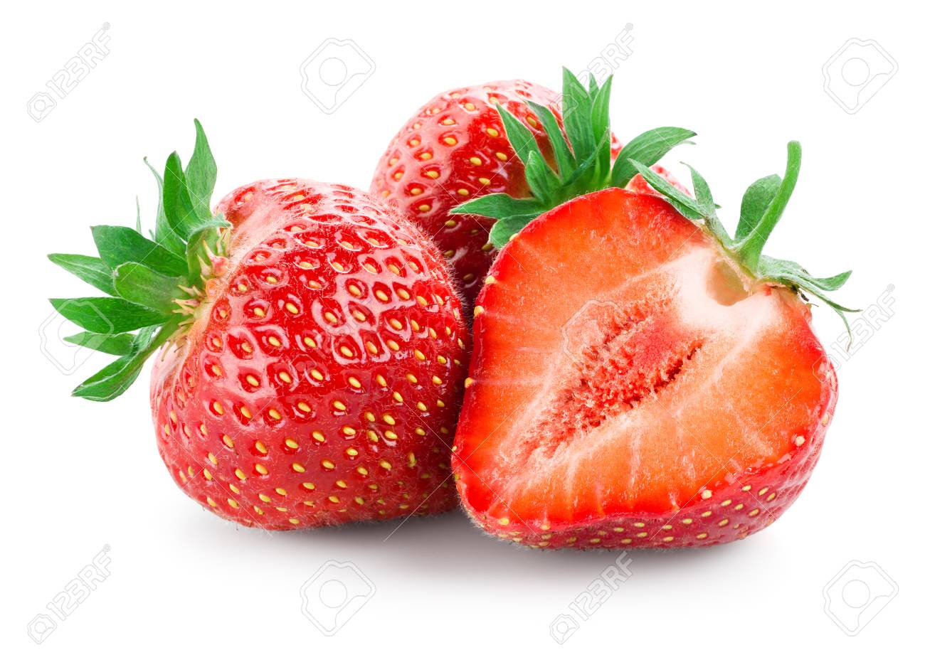Strawberry. Fresh raw three berries with a cut isolated on white - 120212736