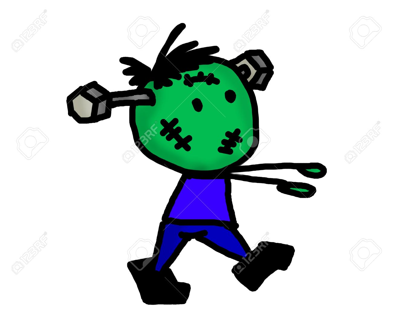 CARTOON ZOMBIE HALLOWEEN WITH NAIL IN HEAD Stock Photo, Picture And ...