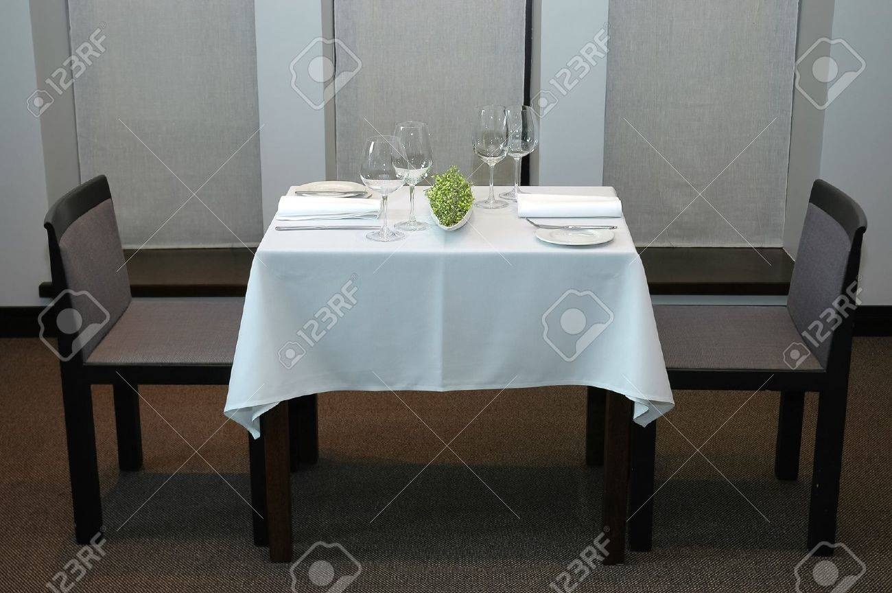 Restaurant table for two - Served Restaurant Table For Two Stock Photo 17384999