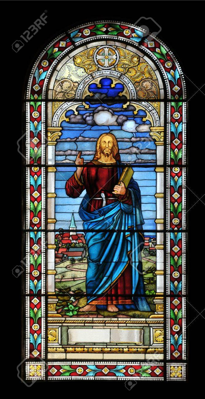 Stained Glass Window With Jesus In Church Latvia Stock Photo