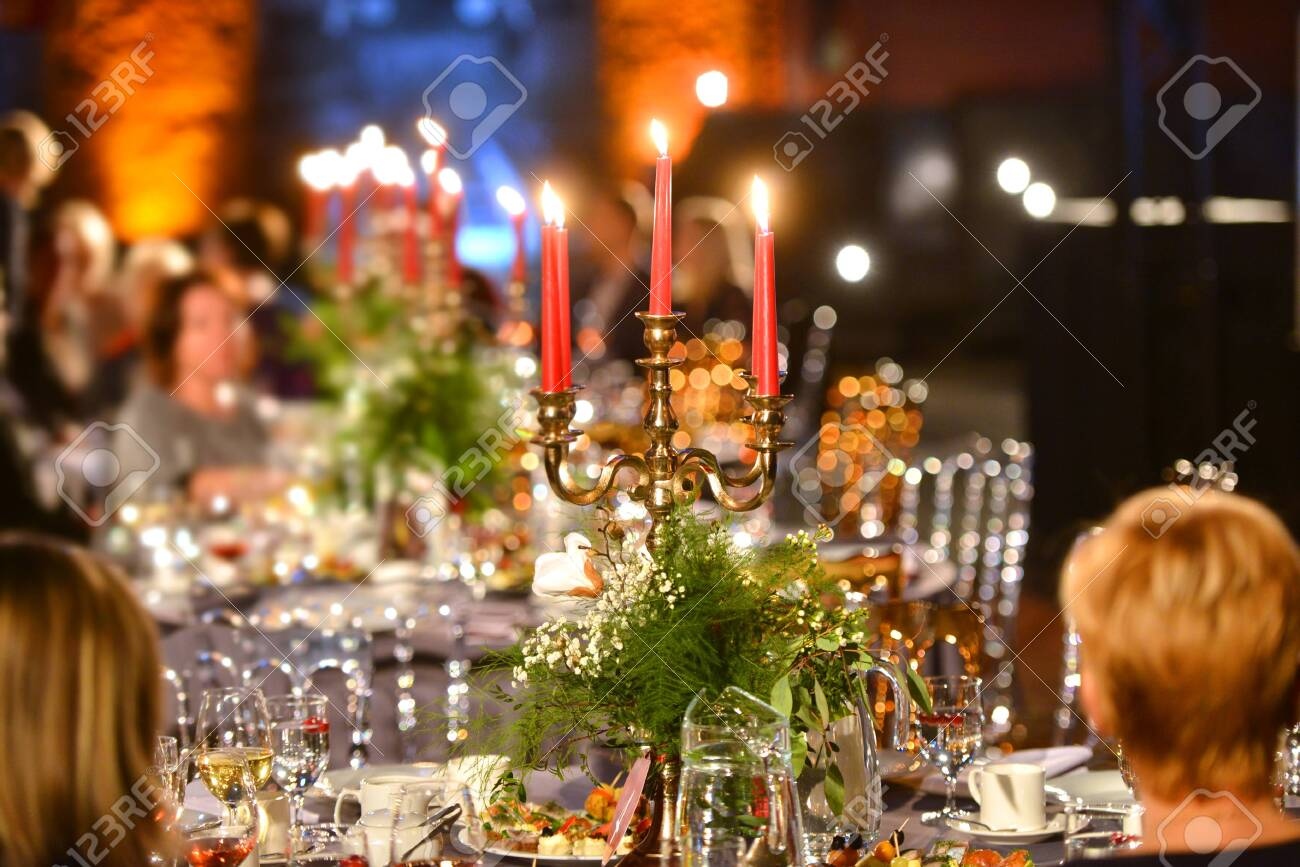 Beautiful Banquet Table Setting For Party Or New Year Celebration Stock Photo Picture And Royalty Free Image Image 122879929