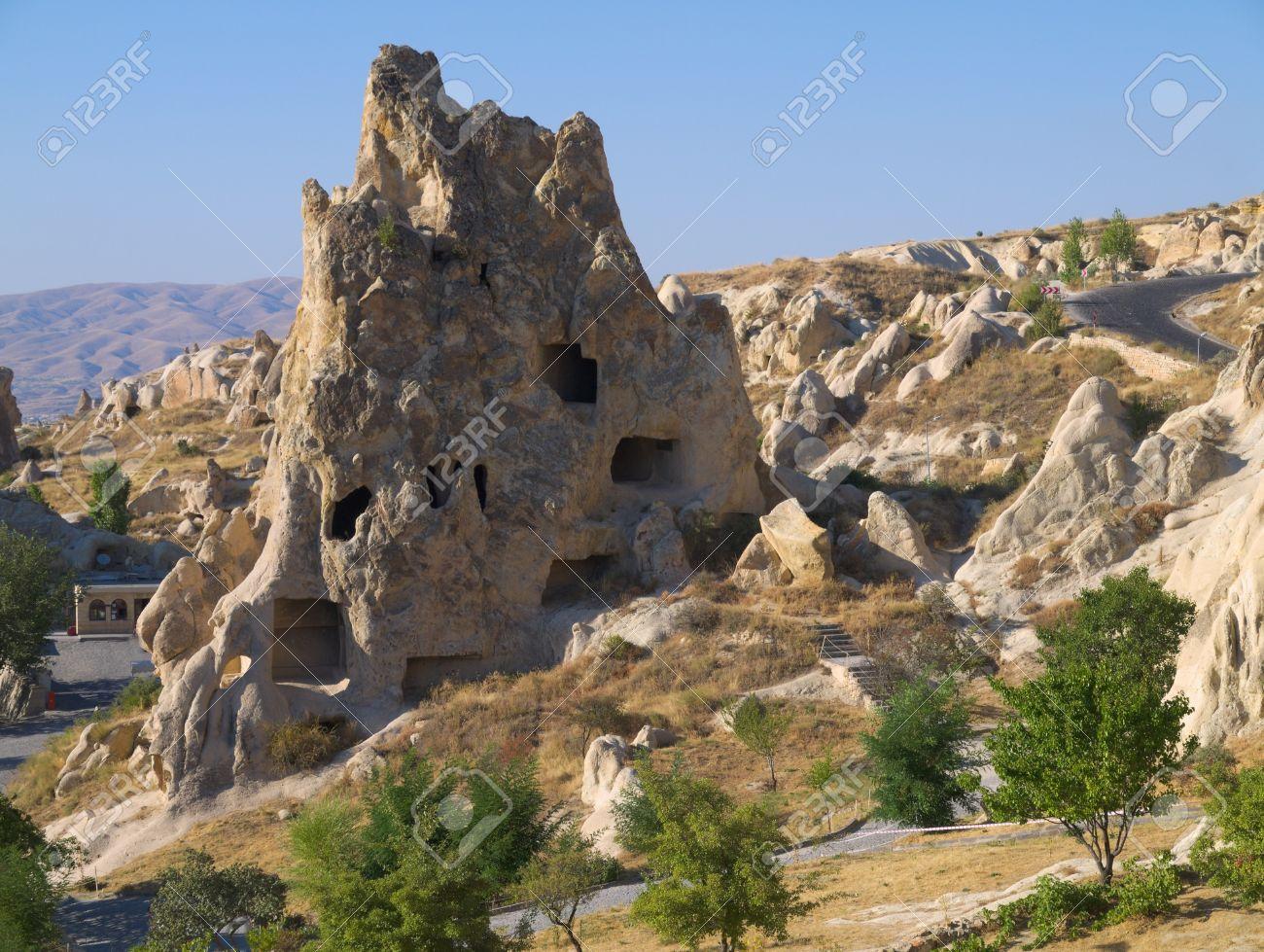 casas de piedra en capadocia foto de archivo