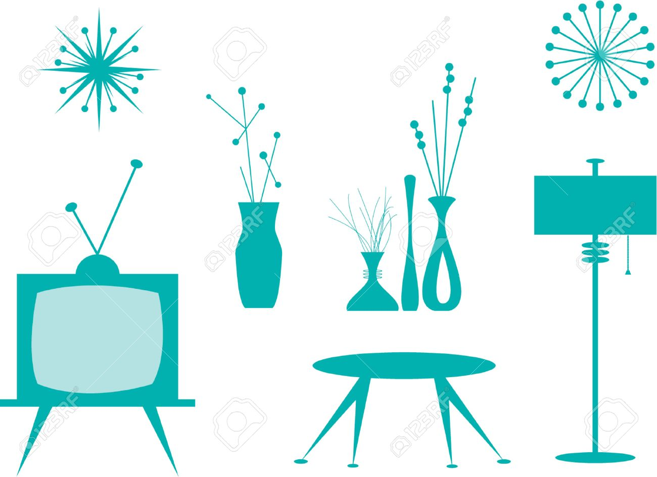 Vector illustration of interior design elements. Stock Vector - 430293