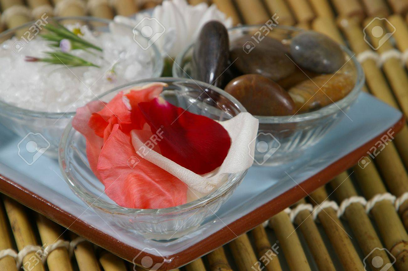 Spa tray- focus on rose petals. Stock Photo - 439184