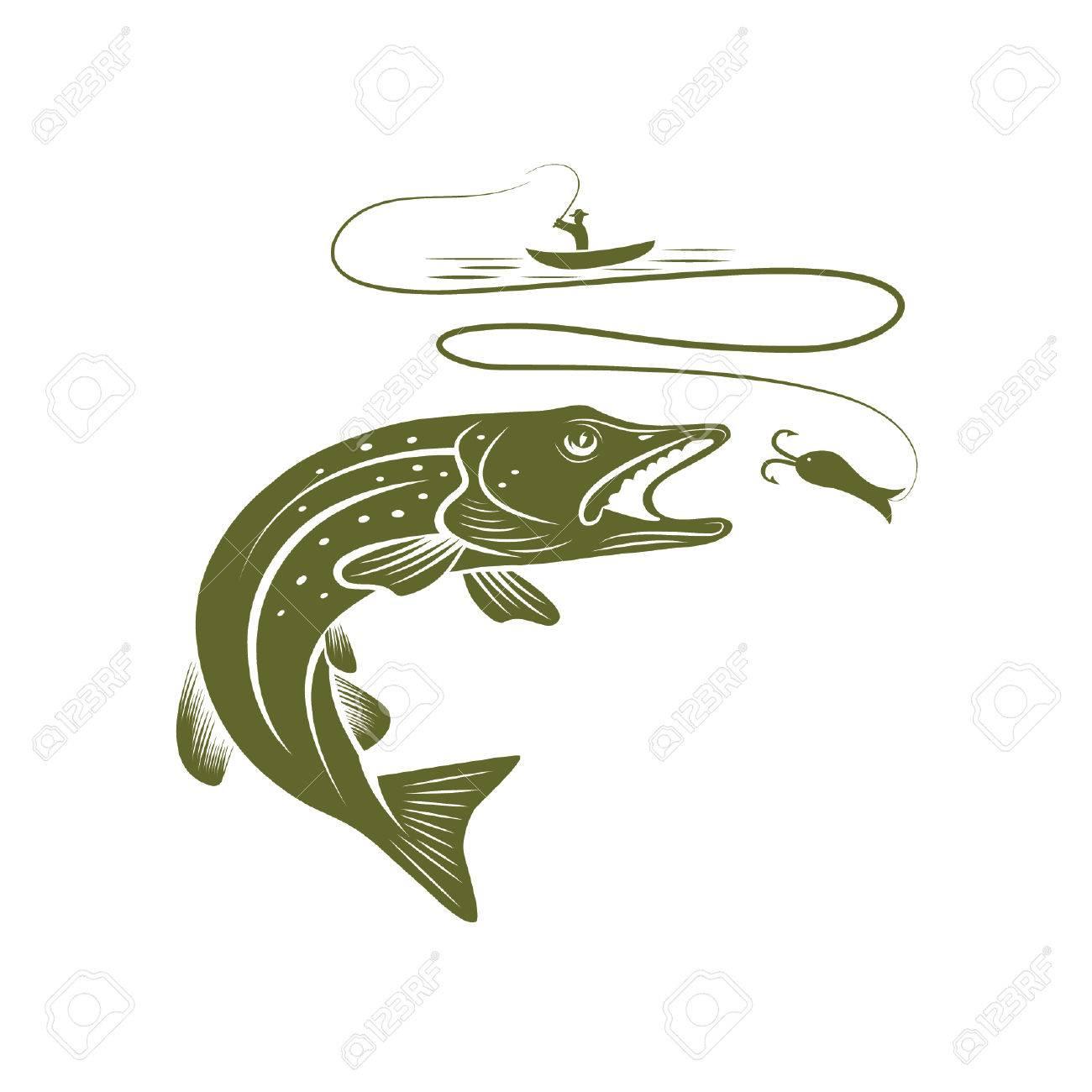 наклейка щука на лодку