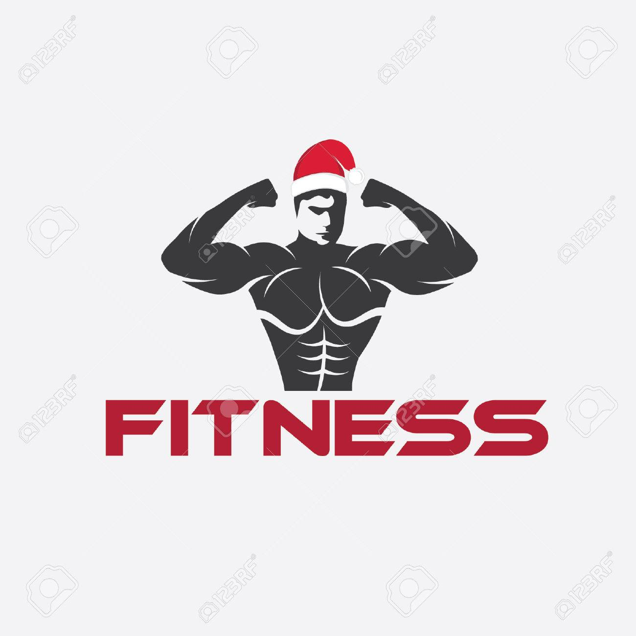 Man Fitness Silhouette Character With Merry Christmas Hat Royalty ...