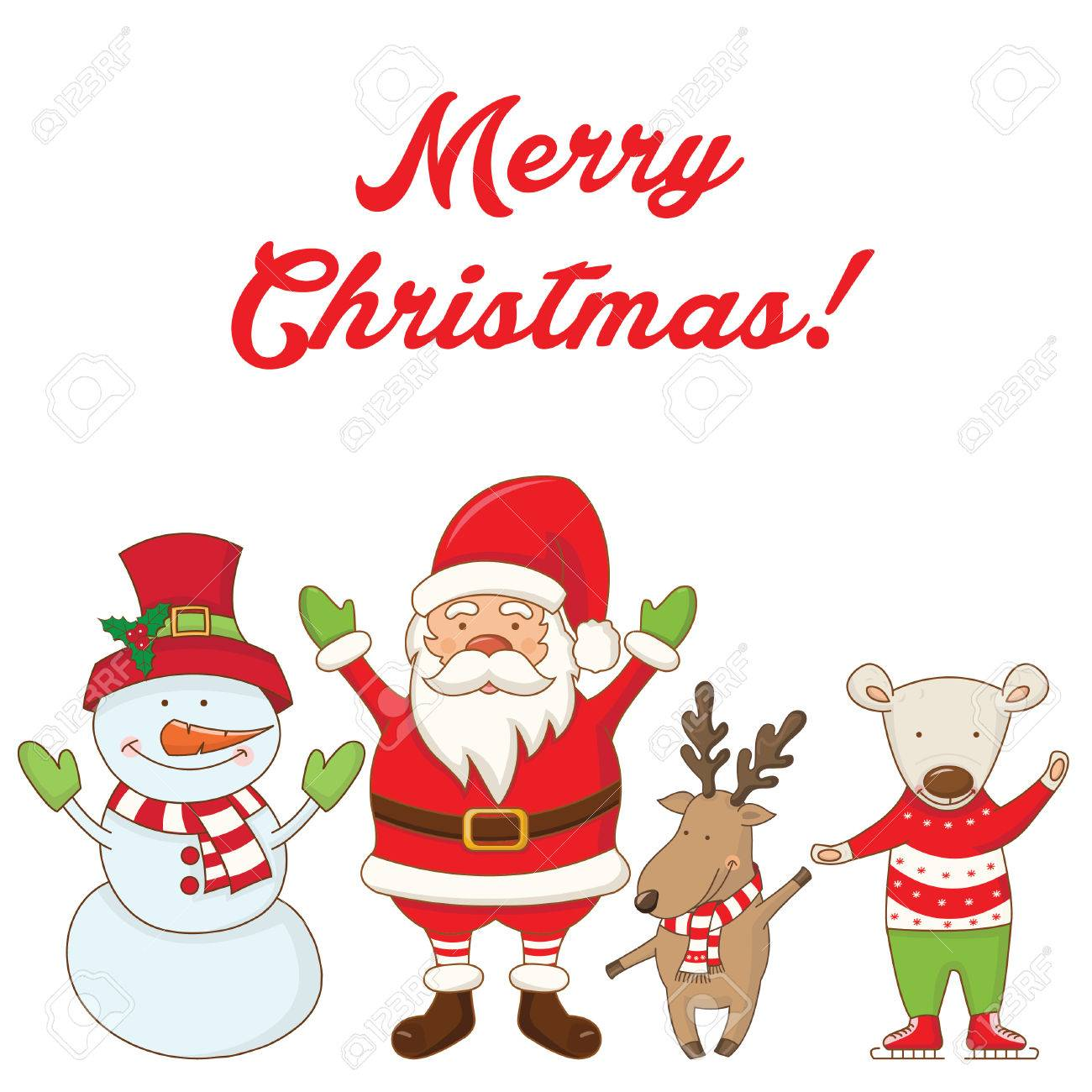 Christmas Characters And The Words Merry Christmas .Vector Royalty ...