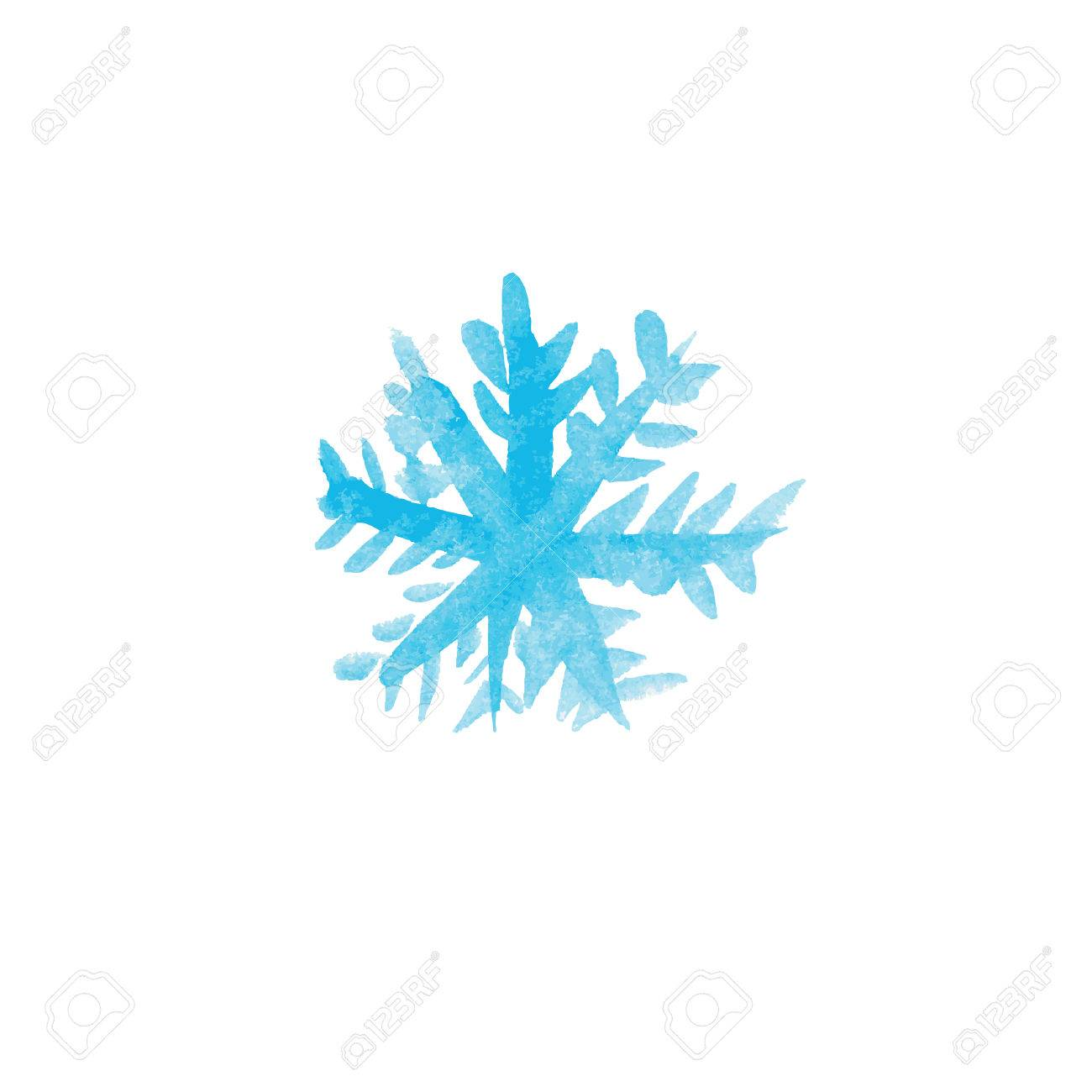 handwritten watercolor snowflake vector stock vector 33204546