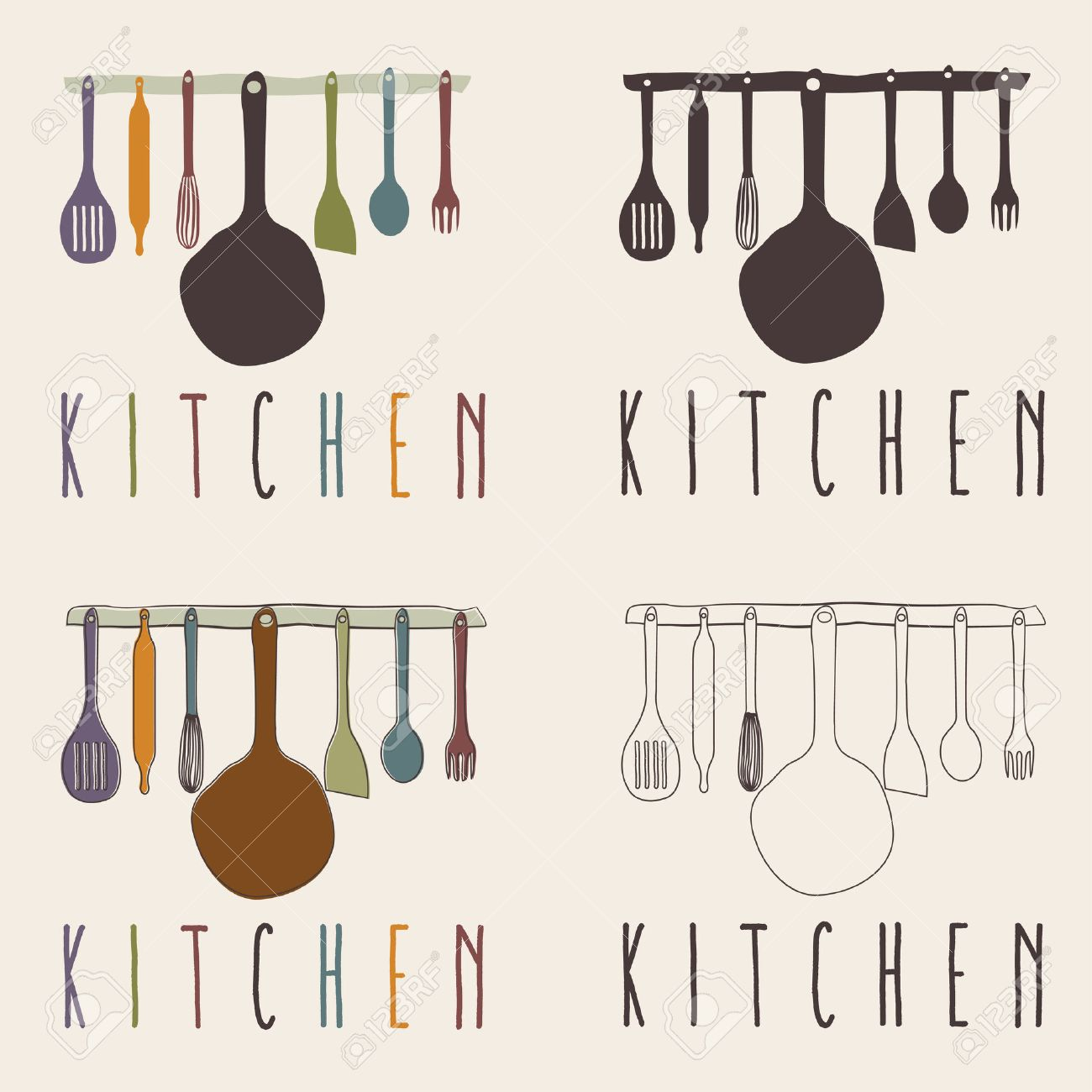 Kitchen Utensils Set Vector Design Template Royalty Free Cliparts ...