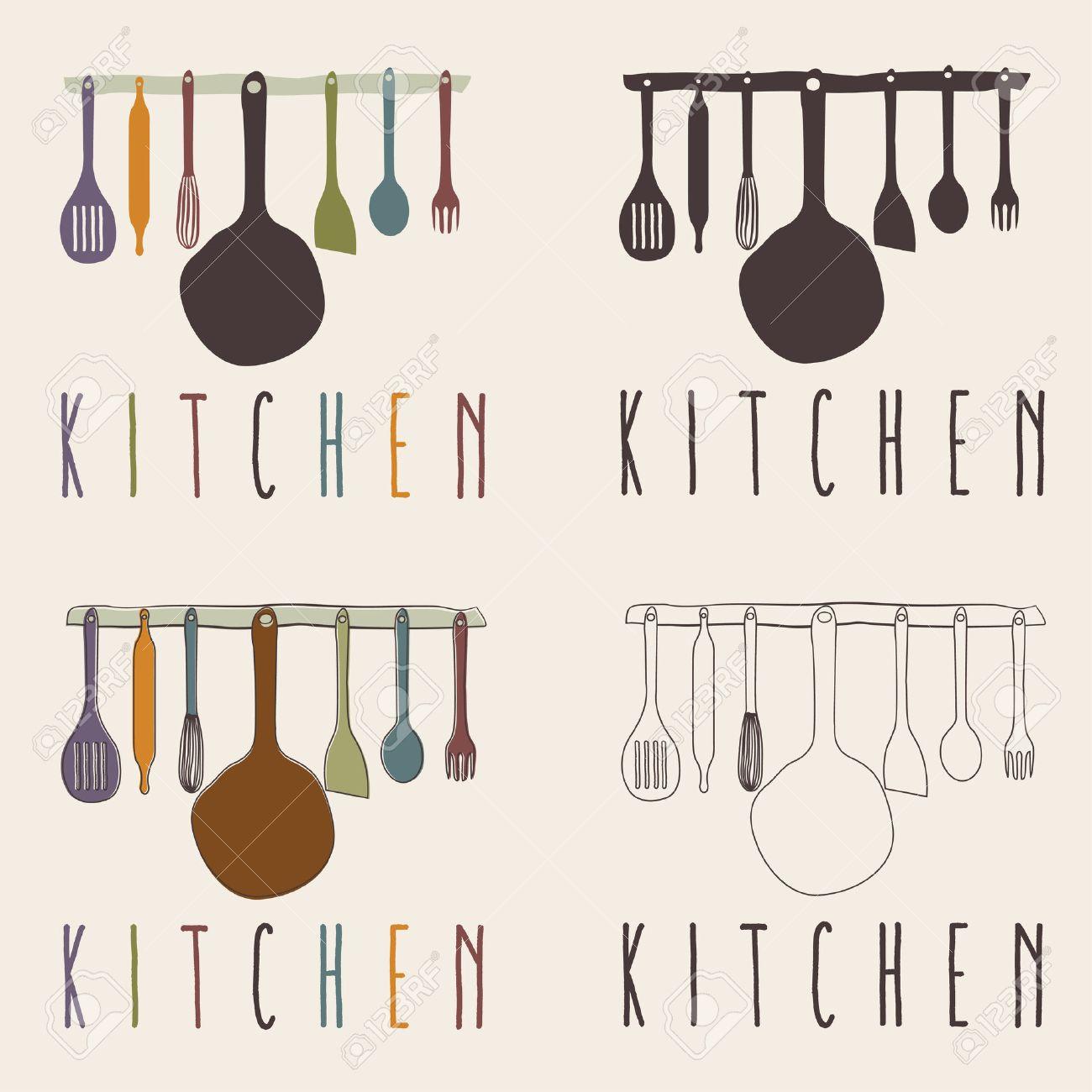 Utensilios De Cocina Set Vector Plantilla De Diseño Ilustraciones ...