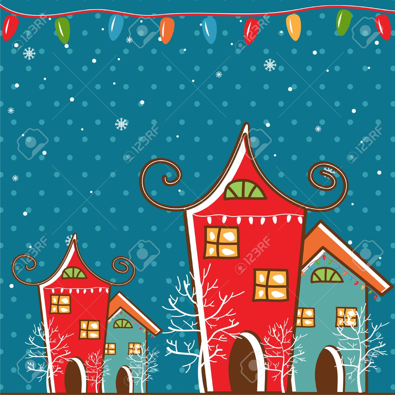 Paisaje De Invierno Con Motivos De Navidad Ilustracion De Vector - Motivos-navidad