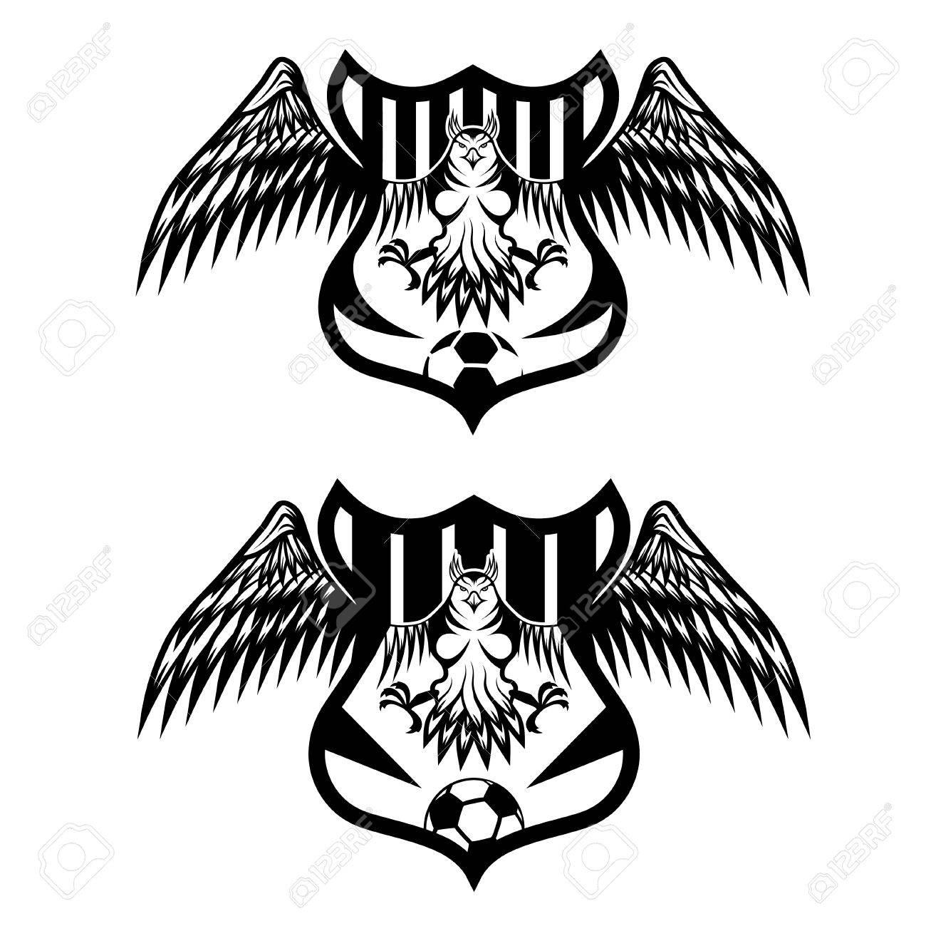 Fußball-Wappen Mit Adler Vektor Entwurfsvorlage Eingestellt ...