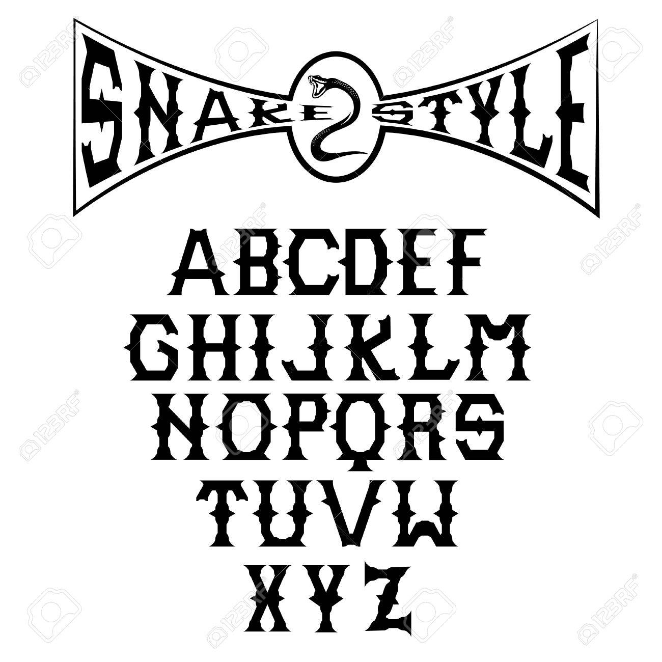 Snake Style Gothic Alphabet Stock Vector