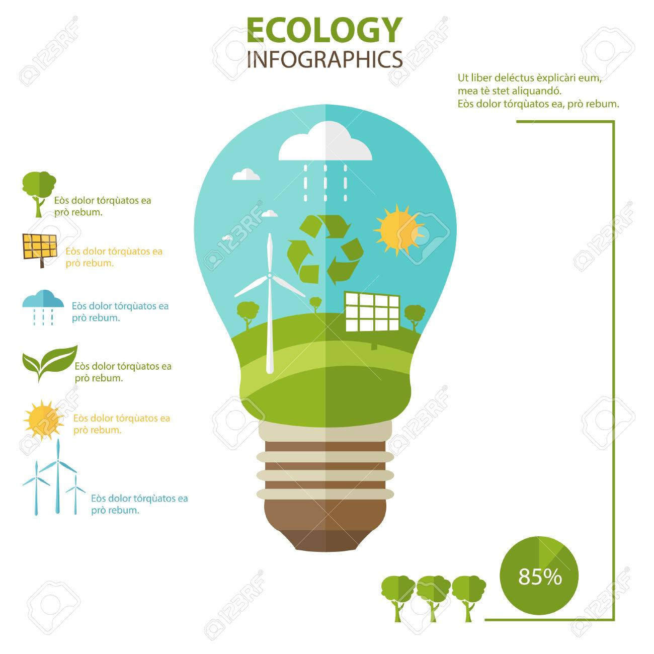 Illustrations Concept Of Lamp With Icons Of Ecology, Environment, Green  Energy. Vector Stock