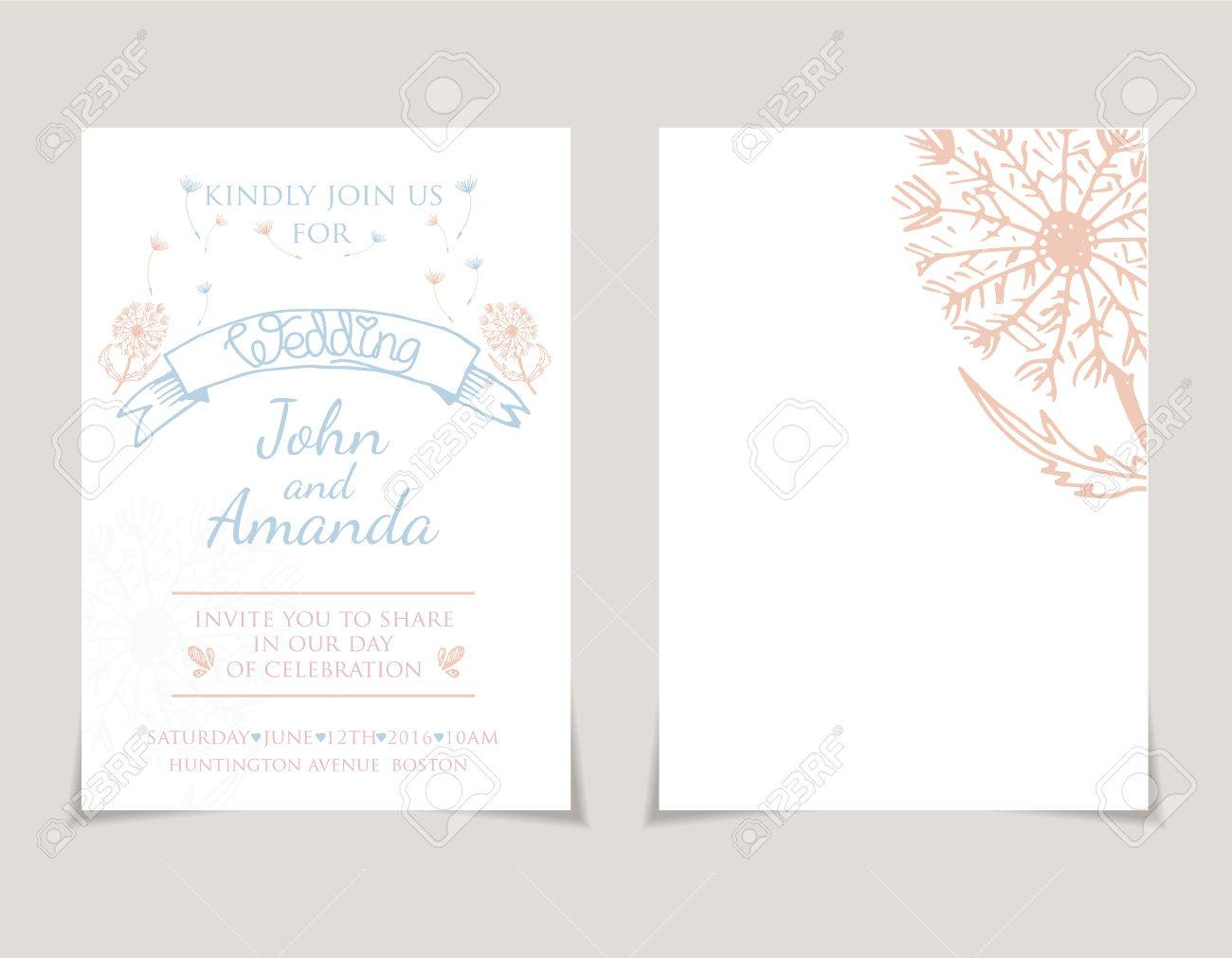 Wedding Invitation Card Templates With Hand Drawn Dandelion Vector