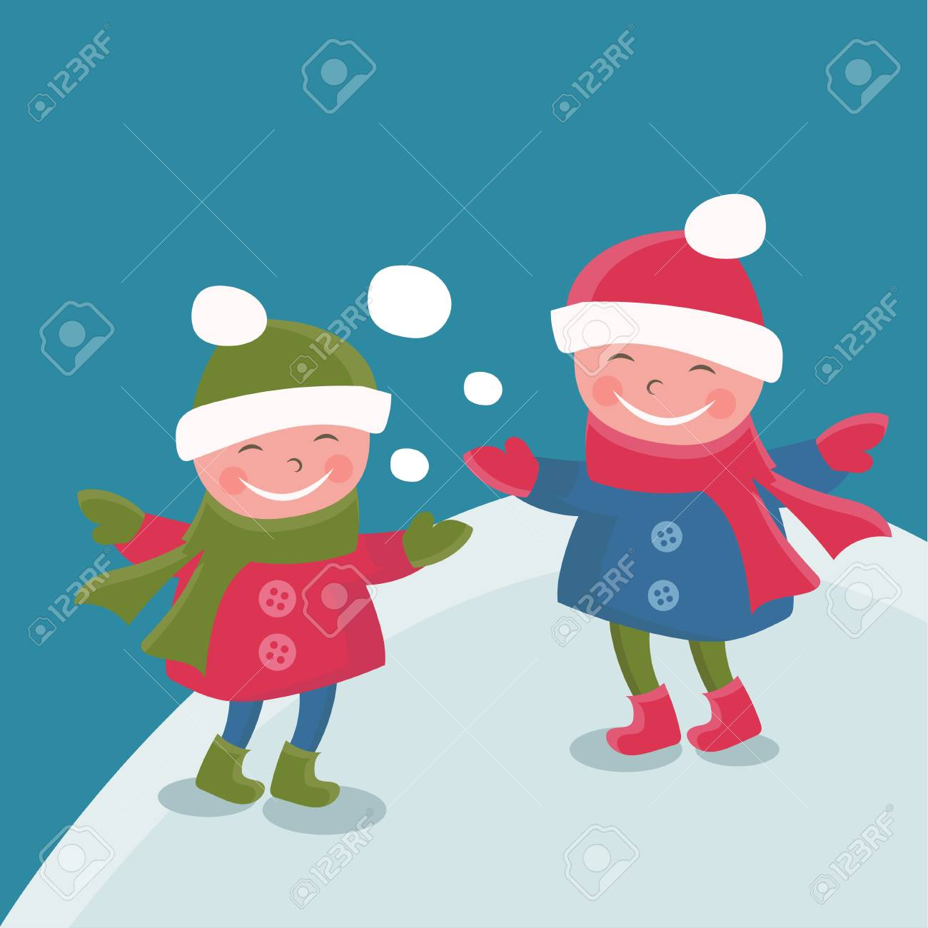 6e90aec92274 Illustration Cartoon Doodle Girls In Winter.Vector Royalty Free ...