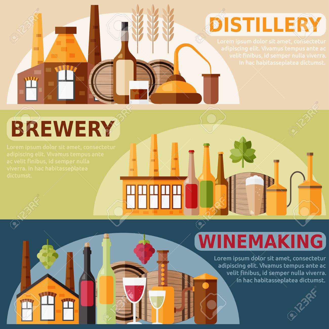 flat design horizontal on distillery,winemaking and brewery theme - 50952678