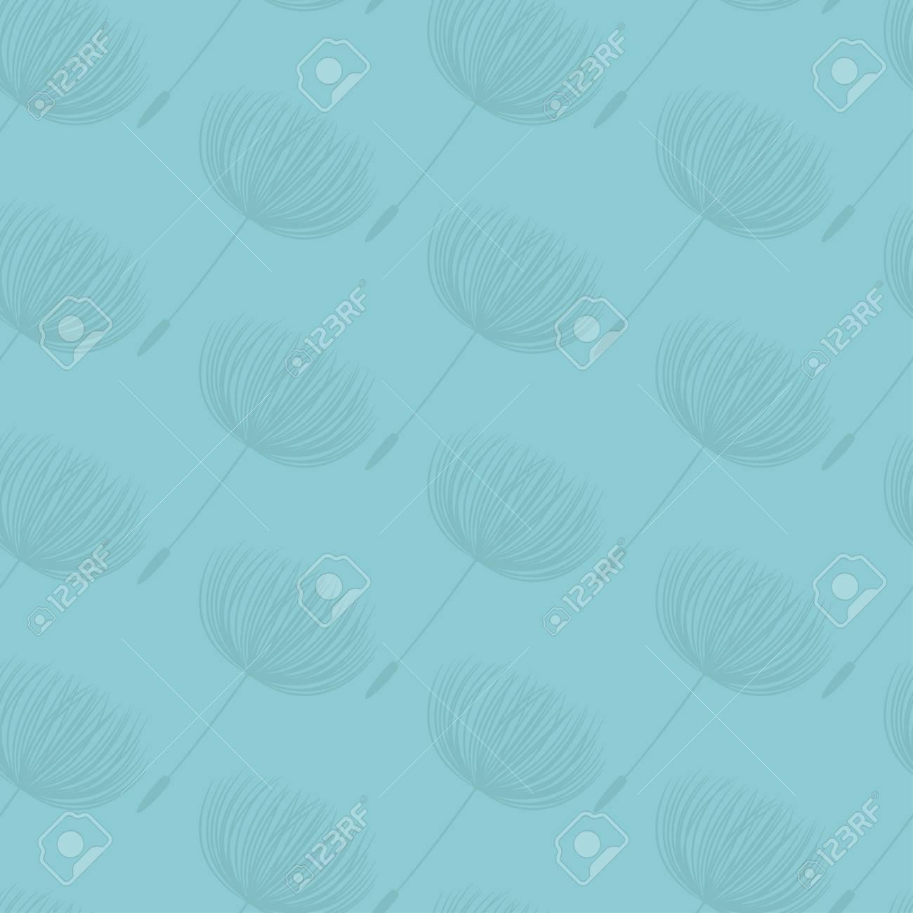 Abstract fluffy dandelion flower seamless pattern. Vector illustration - 62373417