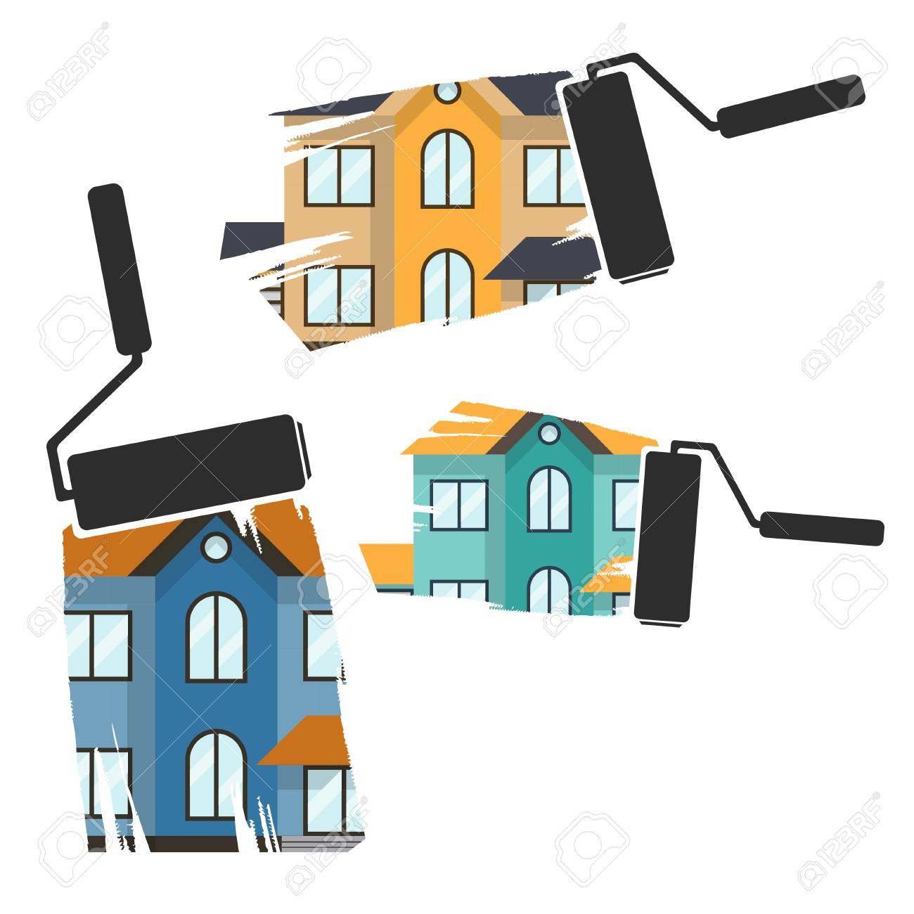 Concept Renovation Illustrations.House Remodeling,flat Design.. Royalty  Free Cliparts, Vectors, And Stock Illustration. Image 56420219.