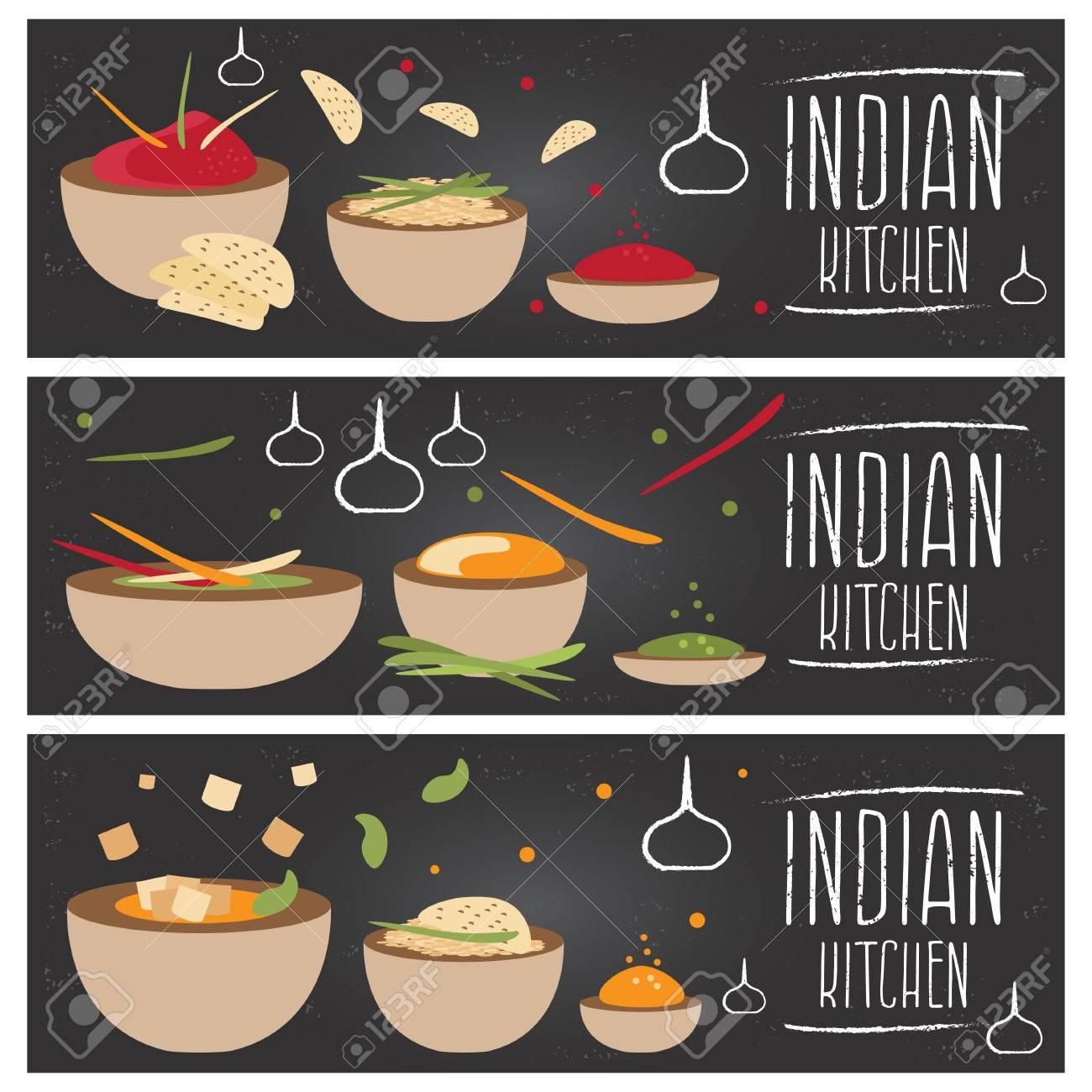 Conjunto De Banderas Para El Tema De La Cocina India Con Diferentes ...