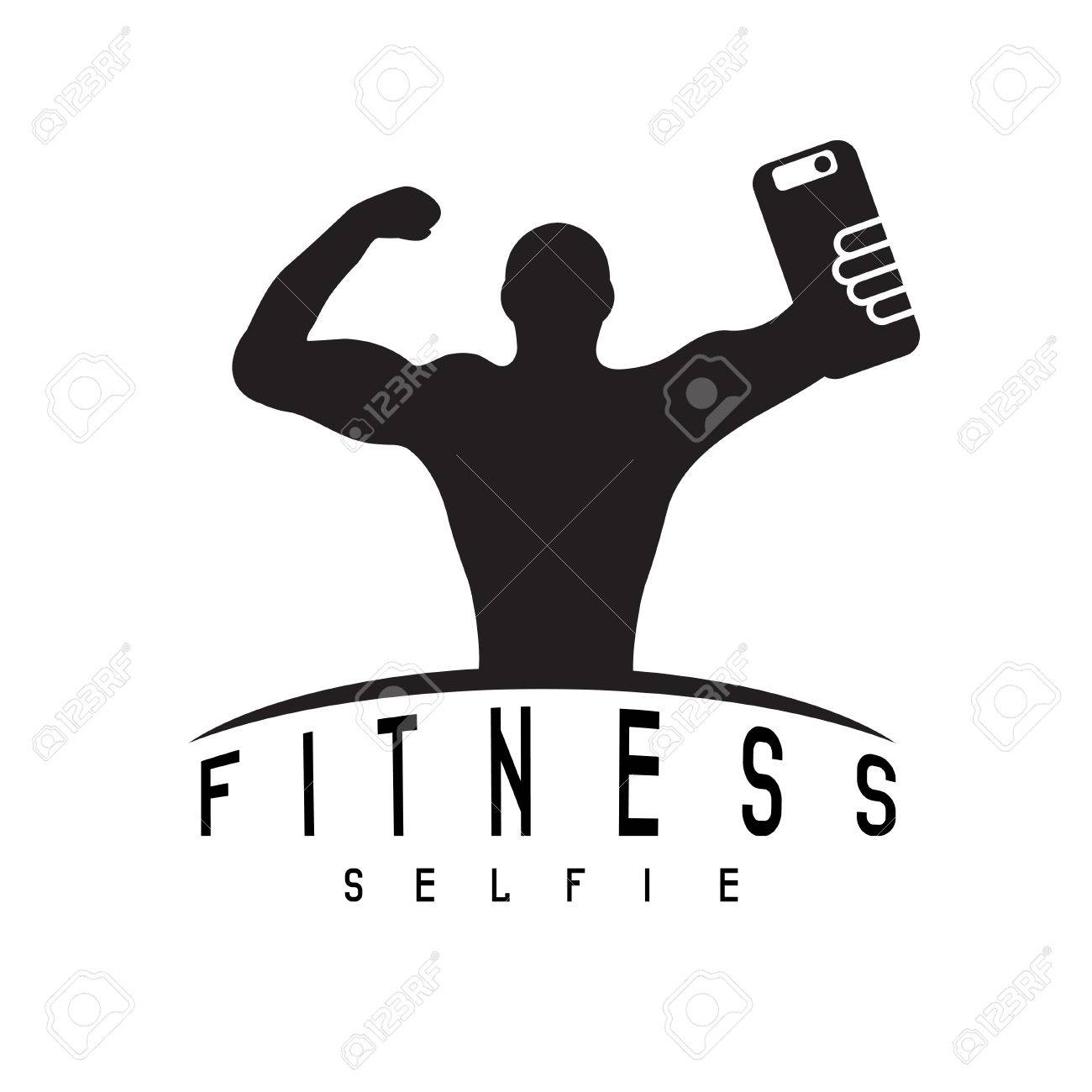 man of fitness silhouette character make selfie vector design